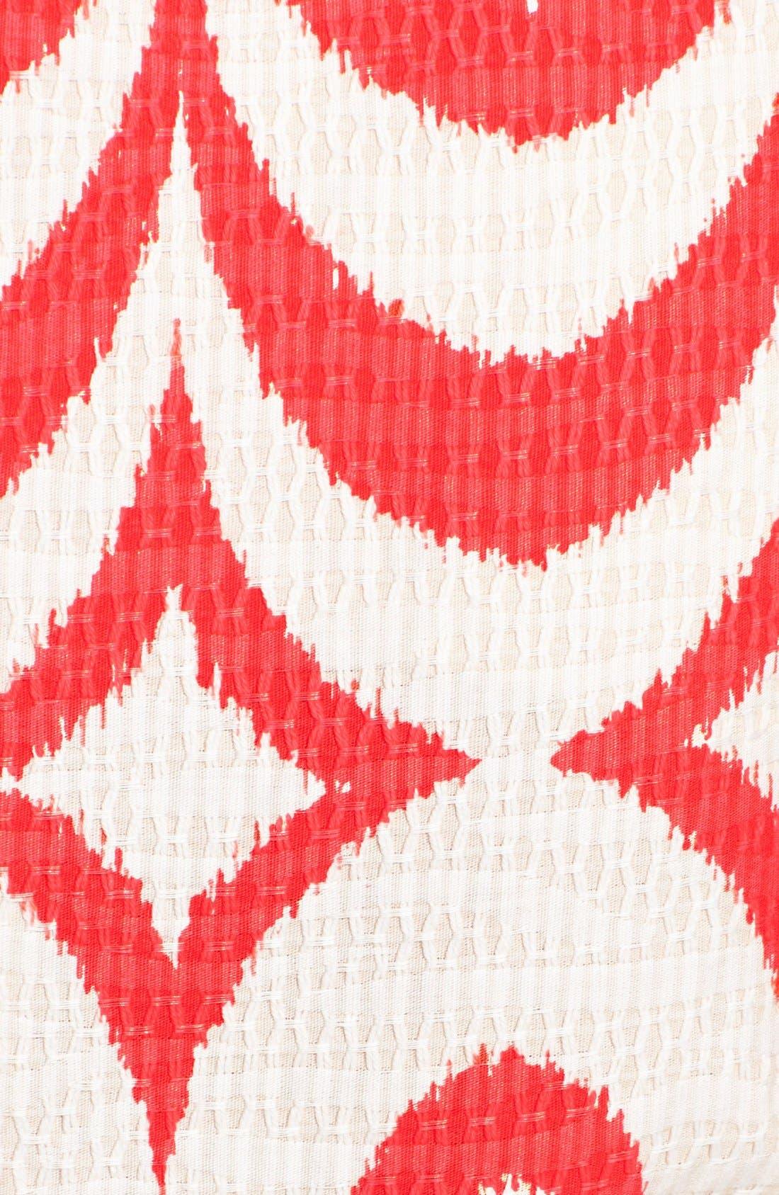Print Cotton Fit & Flare Dress,                             Alternate thumbnail 4, color,                             Blaze/ Tan