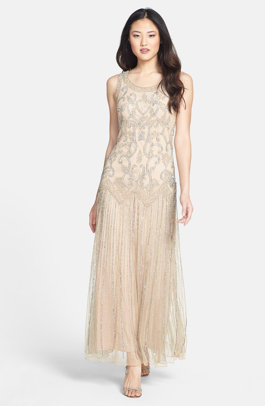 Main Image - Pisarro Nights Embellished Mesh Dress (Regular & Petite)