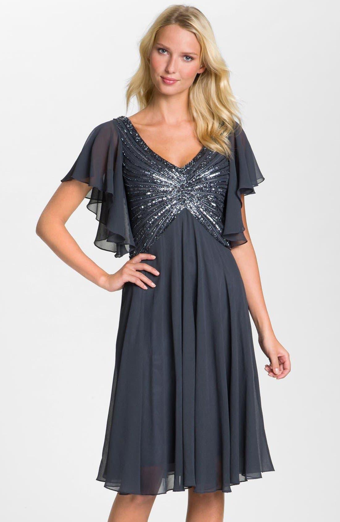 Main Image - J Kara V-Neck Sequin Bodice Dress