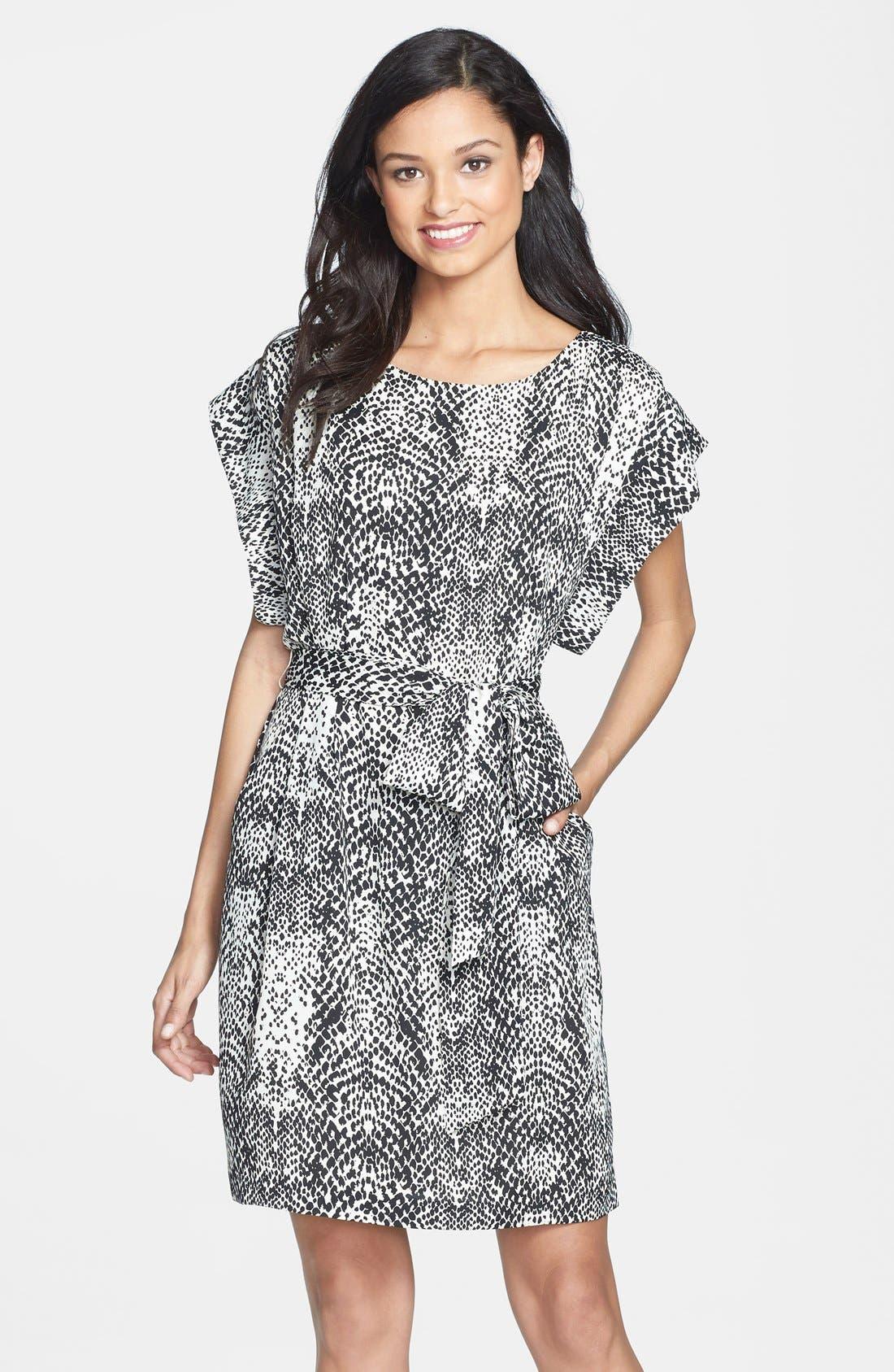 Main Image - Eliza J Print Belted Crêpe de Chine Shift Dress (Regular & Petite)