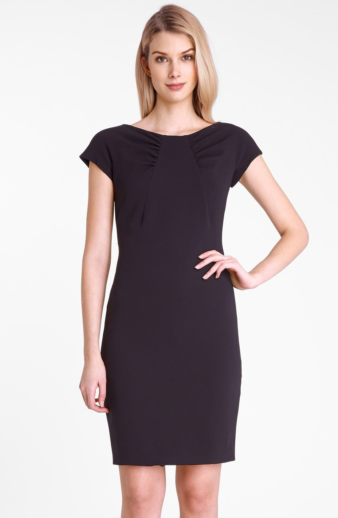 Main Image - Tahari Gathered Neck Crepe Sheath Dress (Petite)