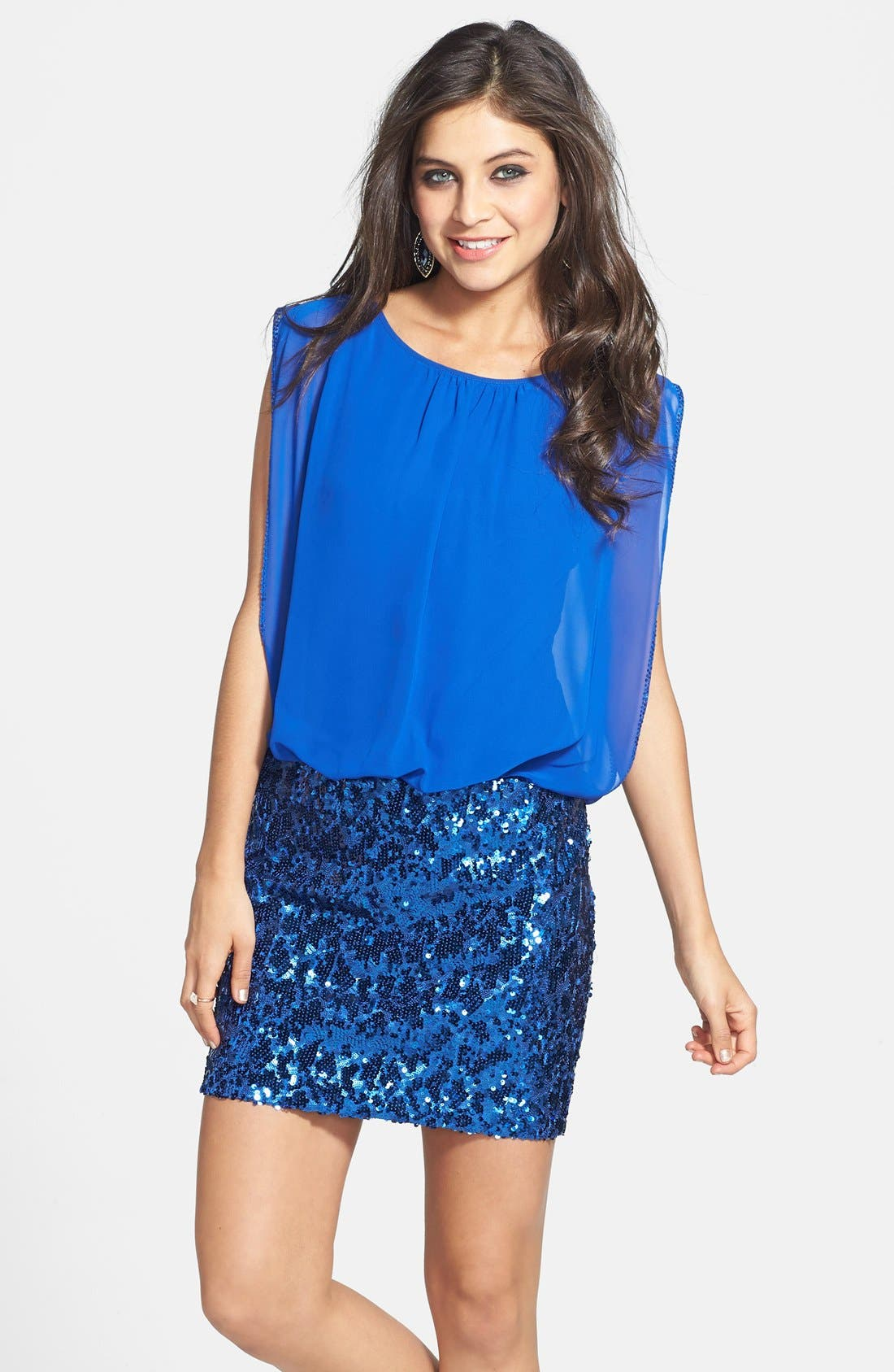 Main Image - Aidan by Aidan Mattox Faux Two-Piece Chiffon & Sequin Dress