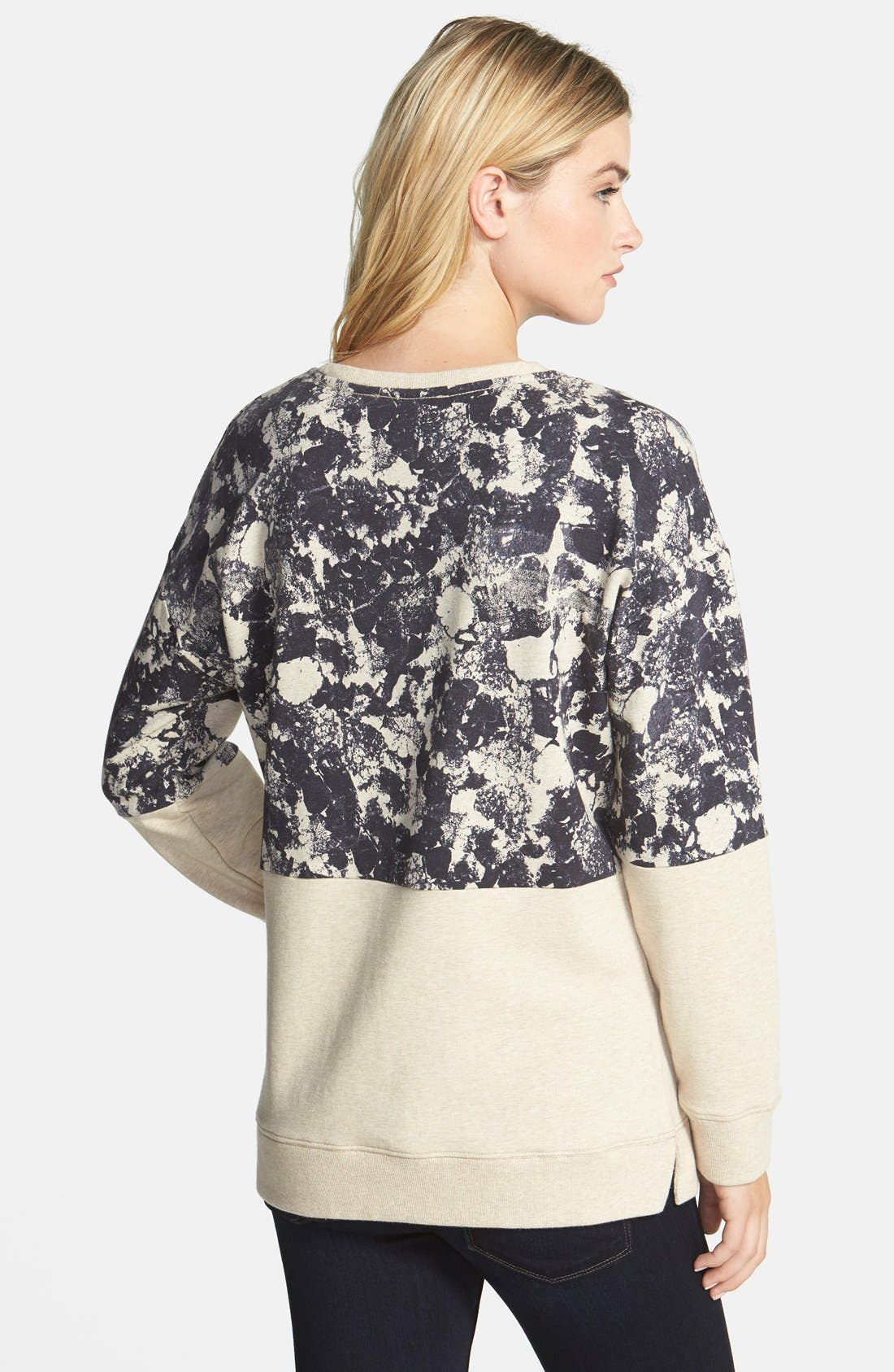 Alternate Image 2  - Two by Vince Camuto Colorblock Print Sweatshirt