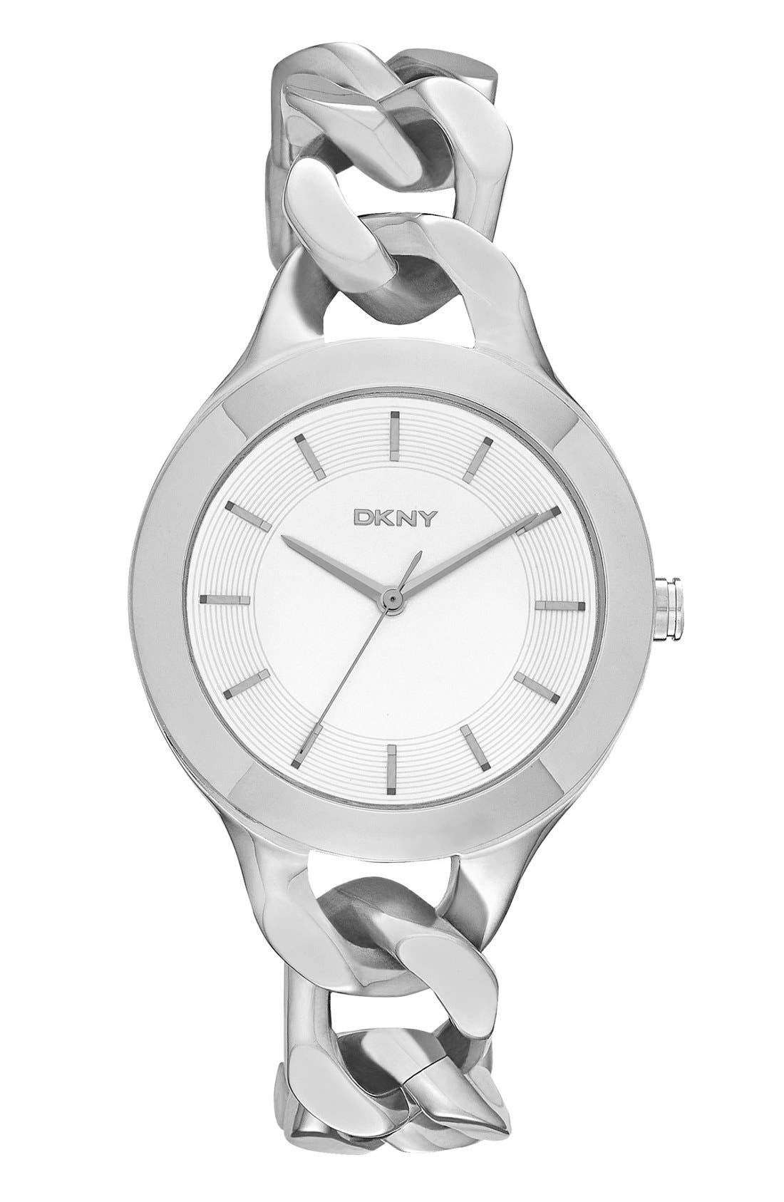 Main Image - DKNY 'Chambers' Round Chain Bracelet Watch, 36mm