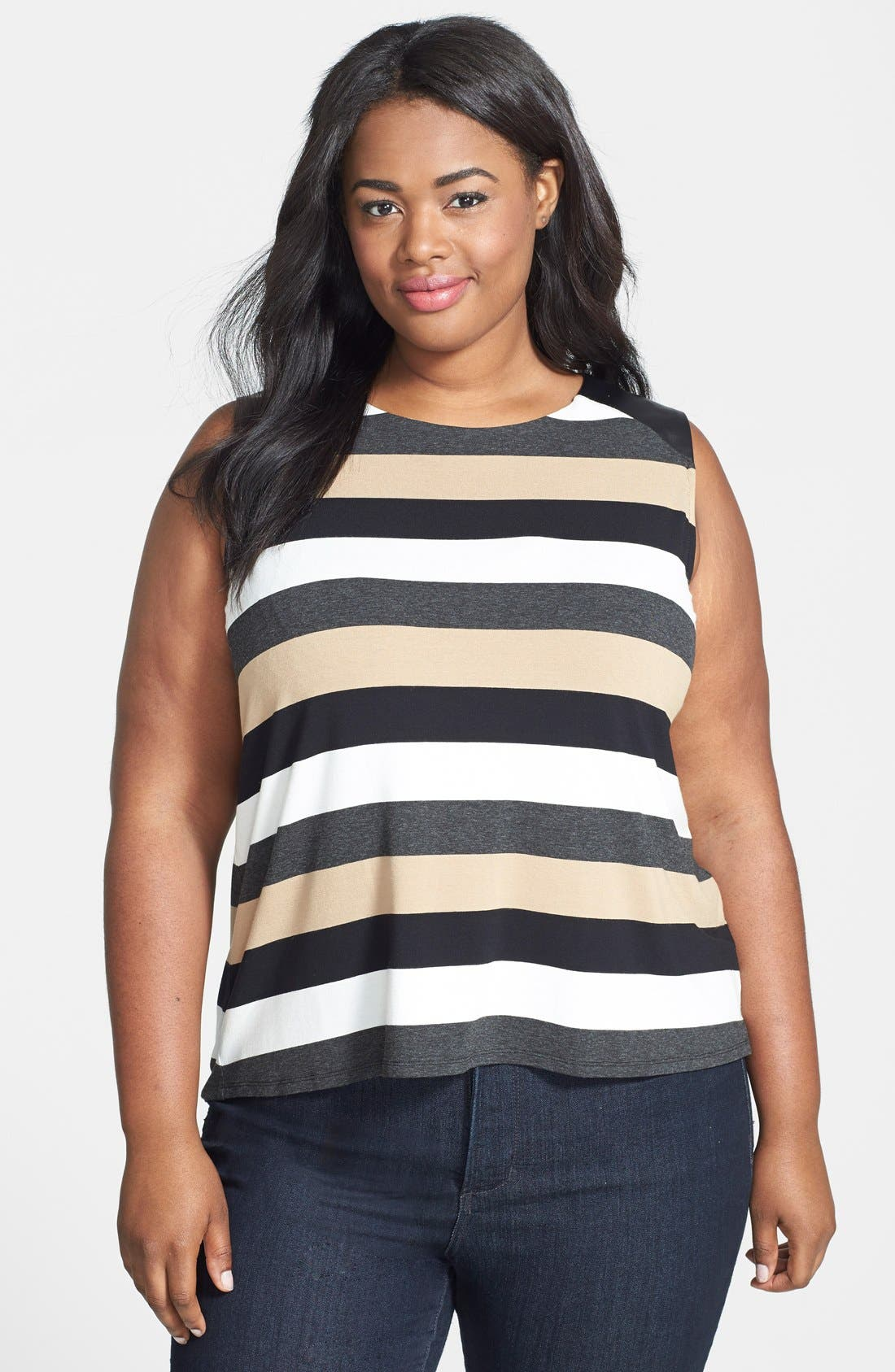 Alternate Image 1 Selected - Vince Camuto Faux Leather Trim Stripe Sleeveless Top