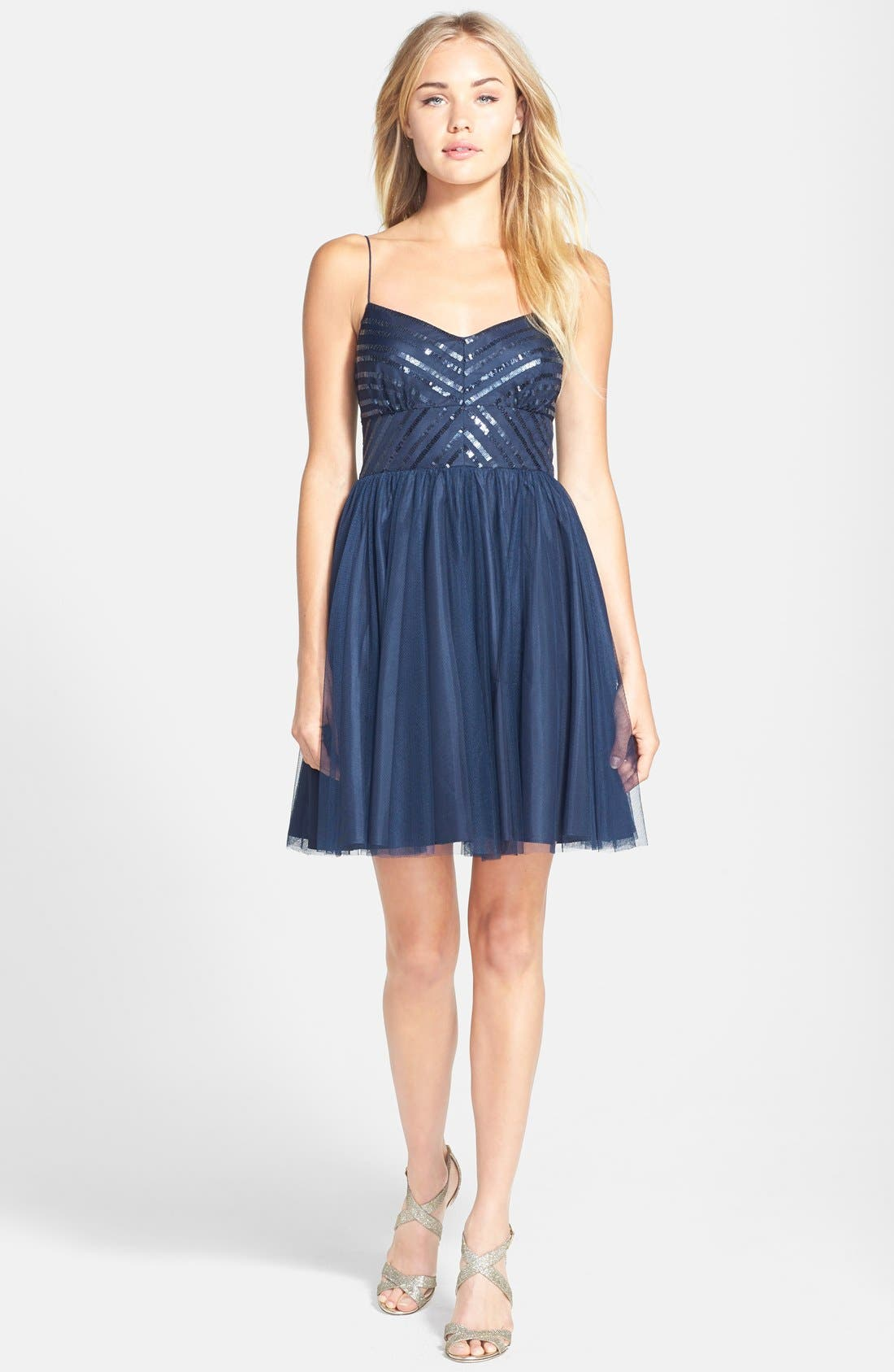 Alternate Image 3  - Aidan by Aidan Mattox Spaghetti Strap Sequin & Tulle Dress (Online Only)
