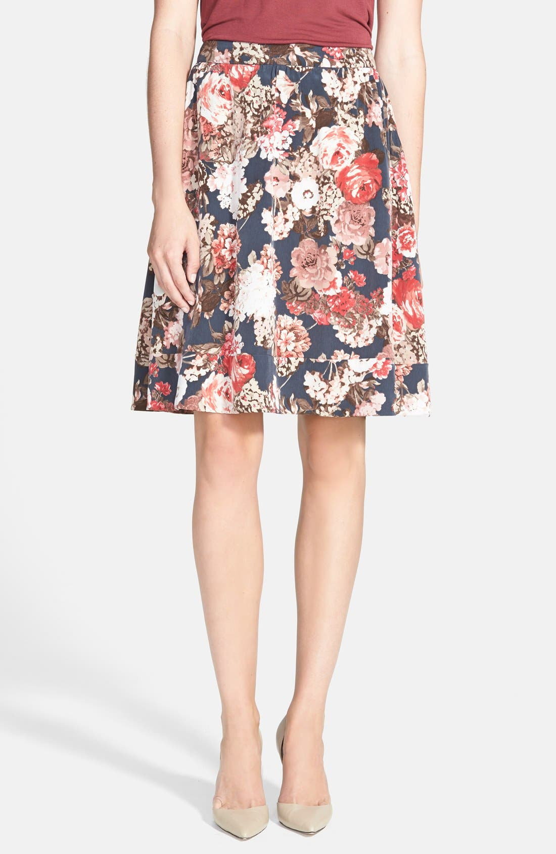 Main Image - Search for Sanity Floral Print Midi Skirt (Regular & Petite)