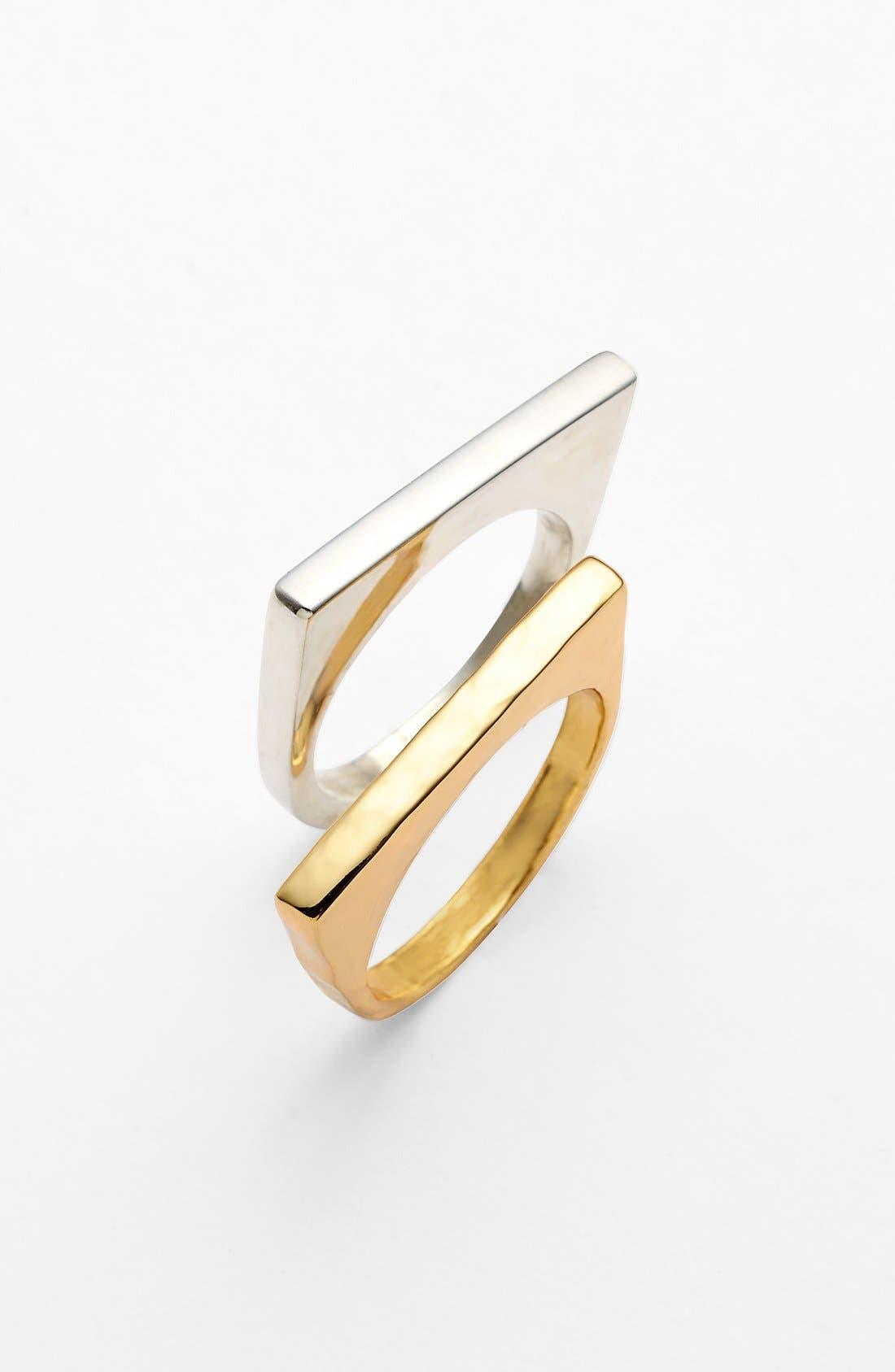 Alternate Image 1 Selected - Argento Vivo Straight Edge Rings (Set of 2)