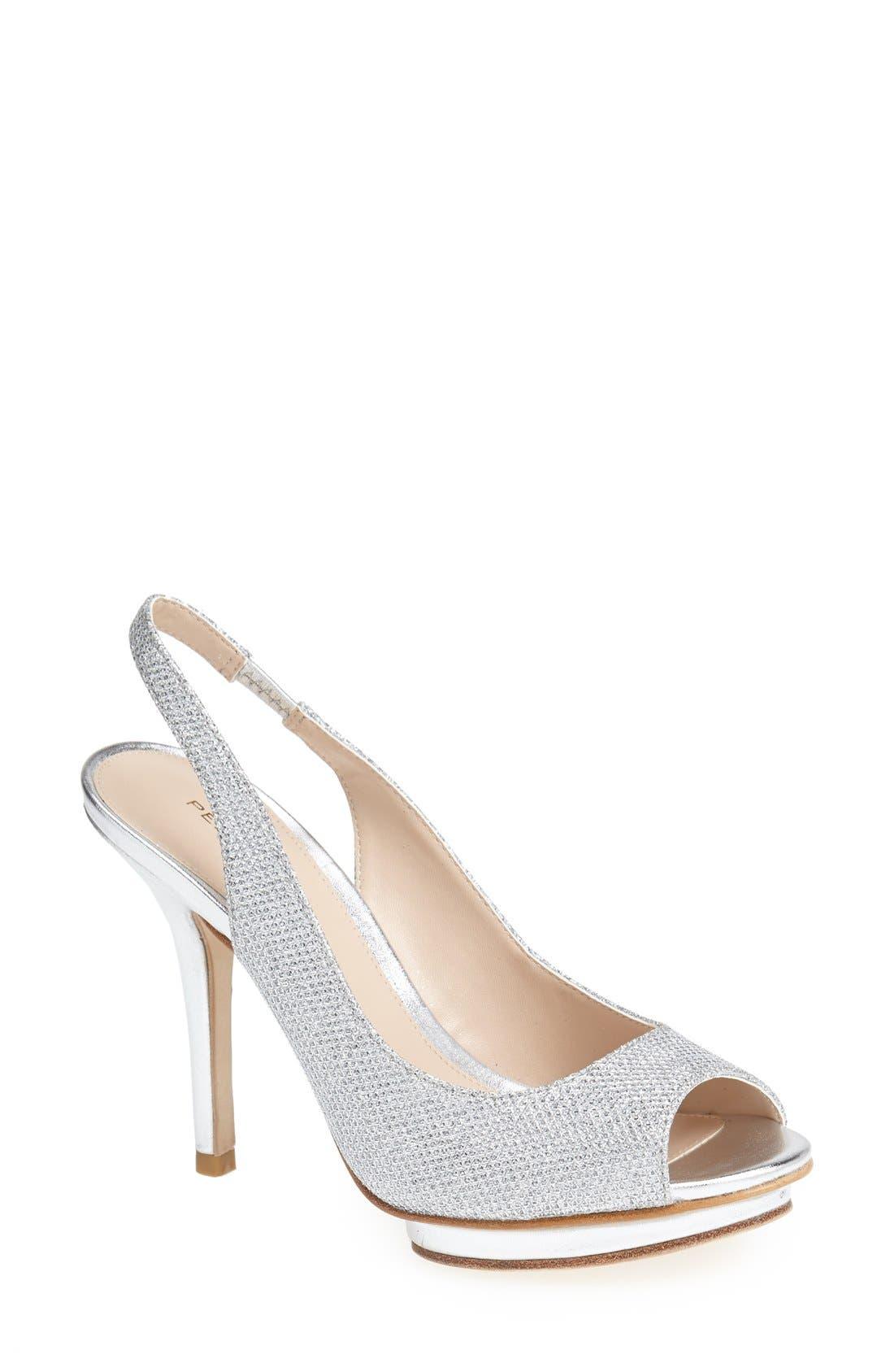 'Rivka' Open Toe Platform Slingback Sandal,                             Main thumbnail 1, color,                             Silver Metallic
