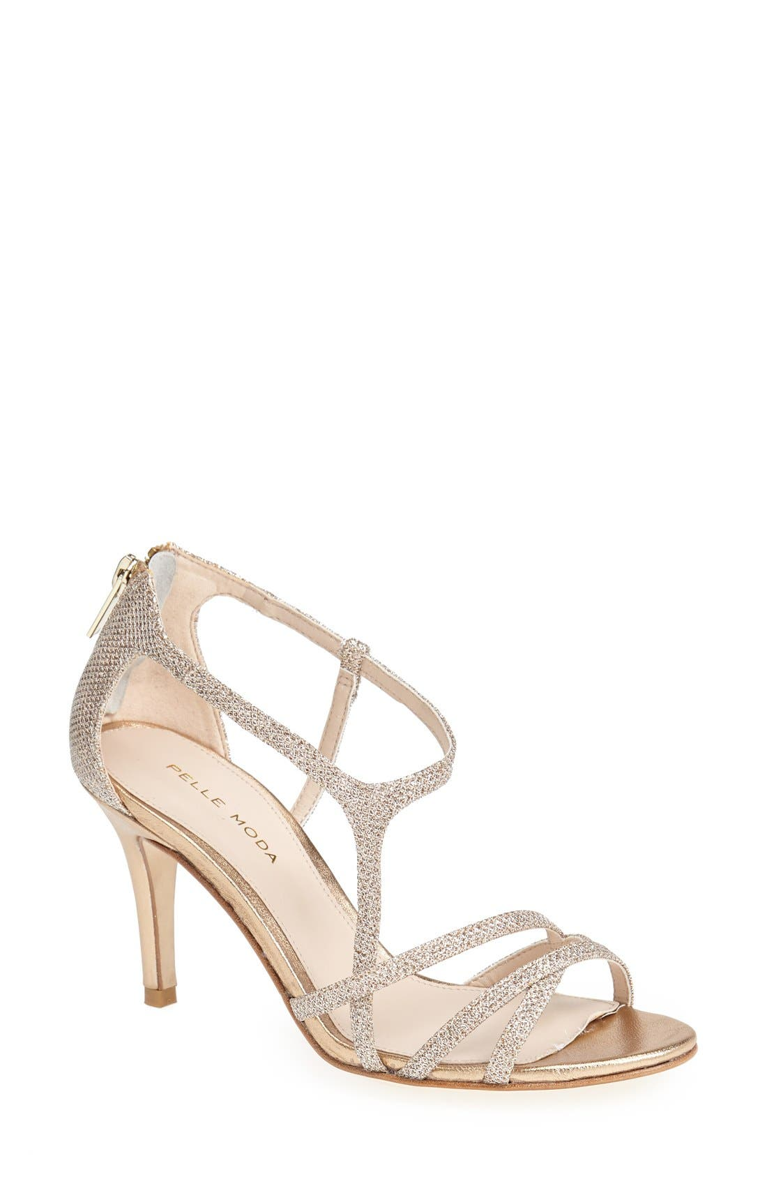 'Ruby' Strappy Sandal,                         Main,                         color, Platinum Gold
