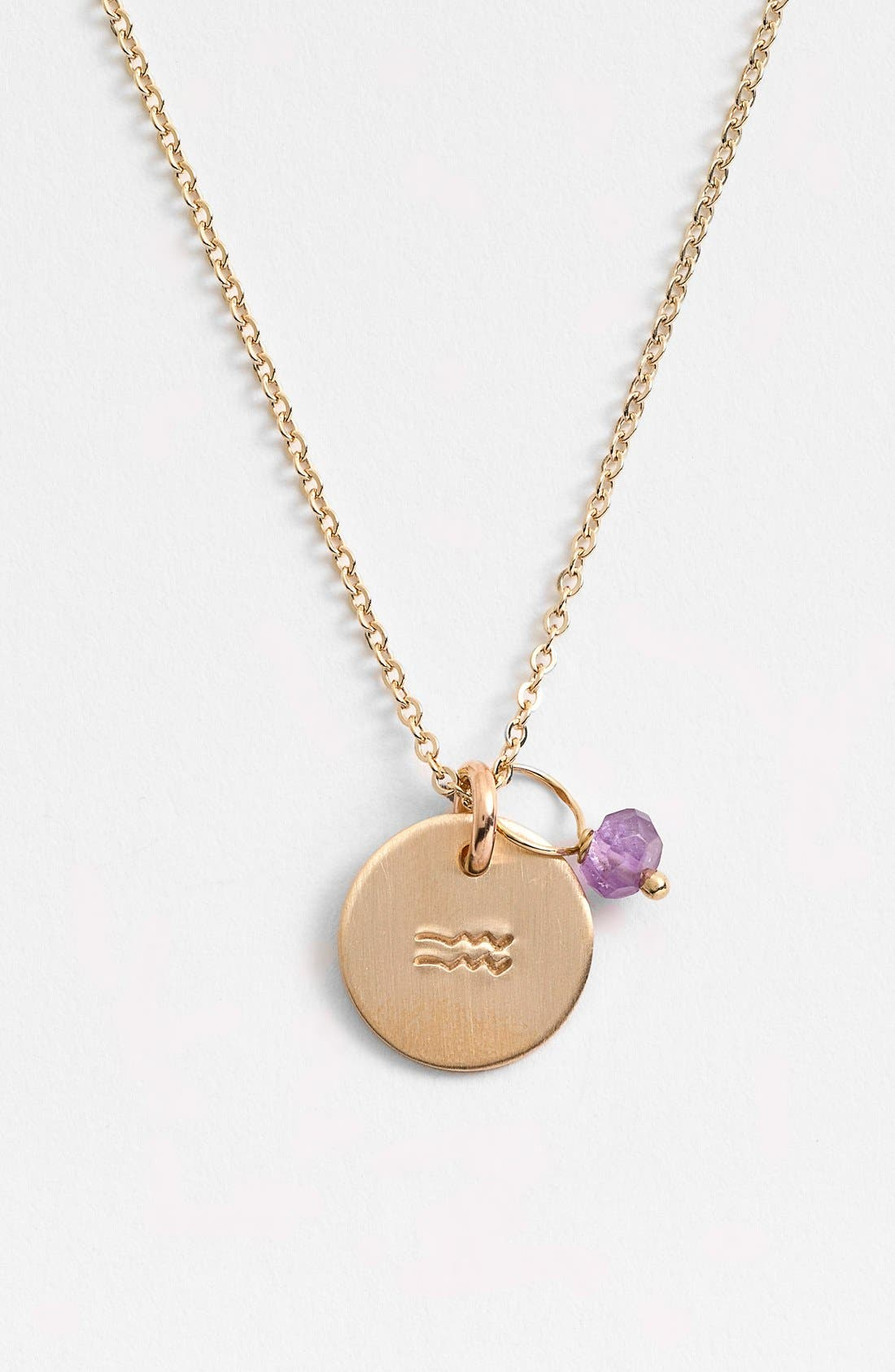 Nashelle 14k-Gold Fill & Semiprecious Birthstone Zodiac Mini Disc Necklace