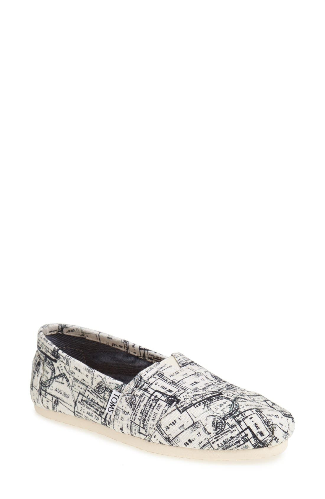 Main Image - TOMS 'Classic - Passport Stamps' Slip-On (Nordstrom Exclusive)(Women)
