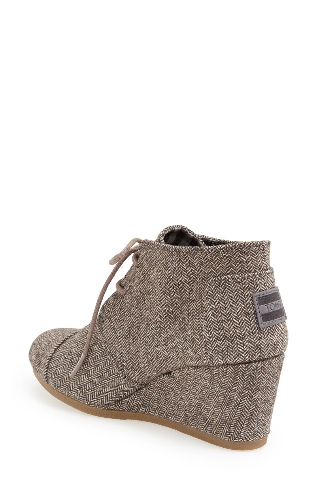 'Desert' Herringbone Wedge Bootie,                             Alternate thumbnail 2, color,                             Grey