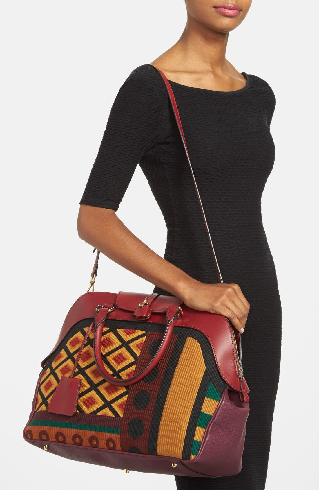 Alternate Image 2  - Burberry 'Large Milverton' Geometric Tapestry Bowling Bag