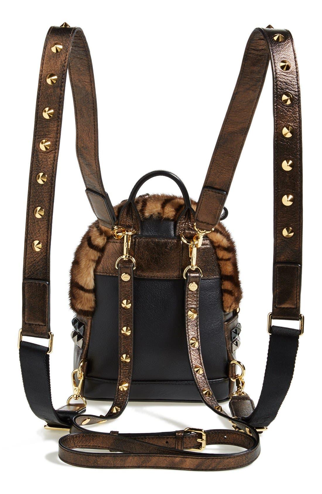 Alternate Image 4  - MCM 'Xmini' Metallic Goatskin & Genuine Mink Fur Convertible Backpack
