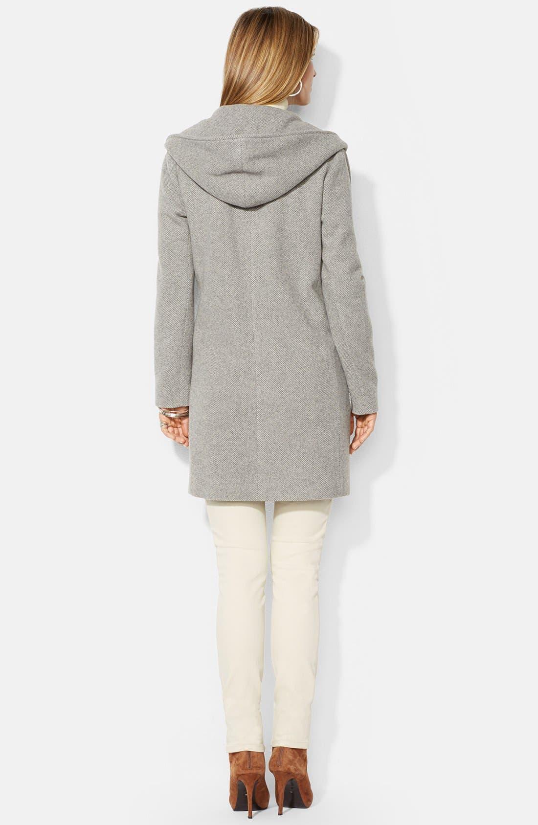 Alternate Image 2  - Lauren Ralph Lauren Hooded Drape Front Herringbone Coat