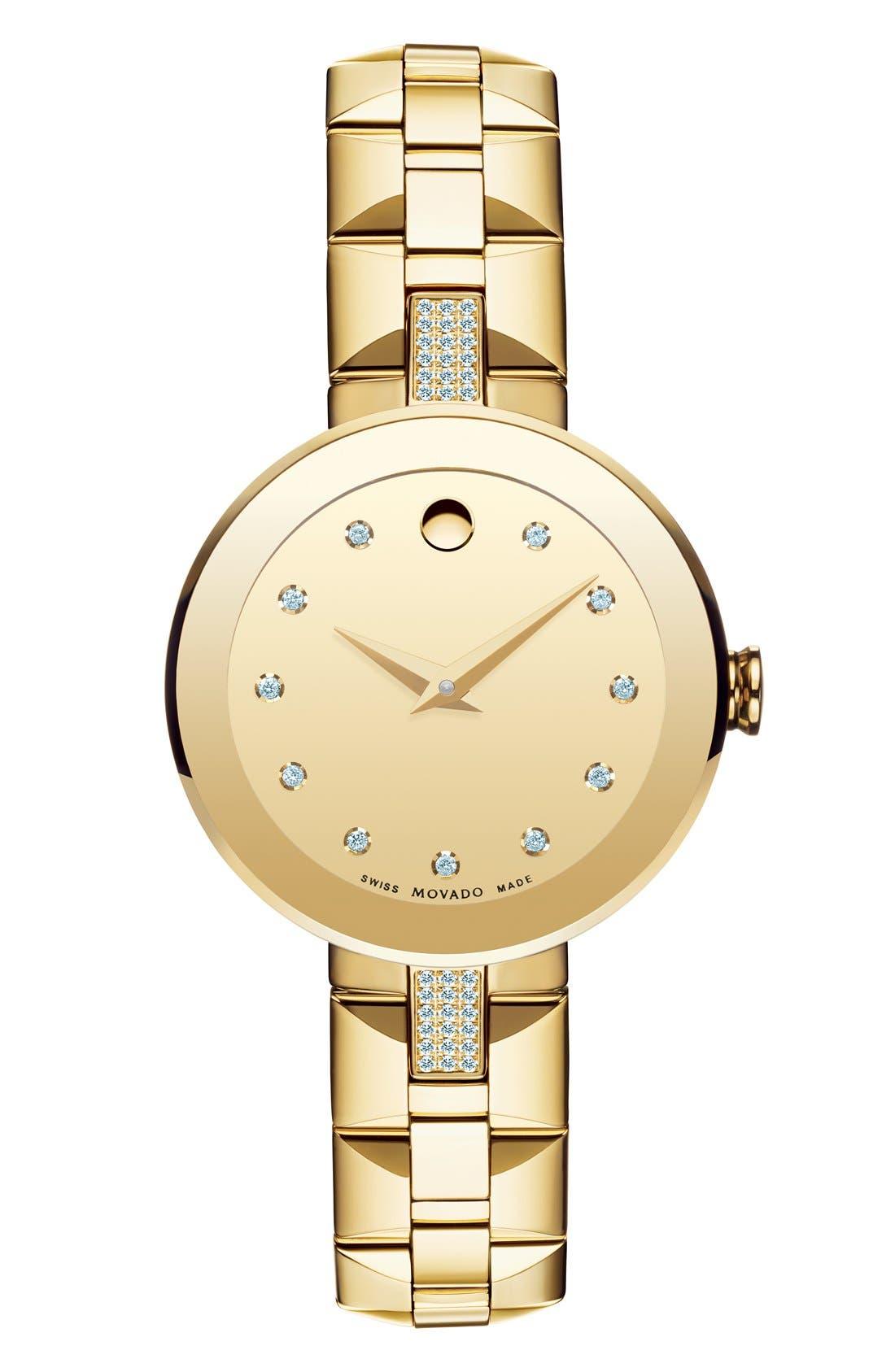 Alternate Image 1 Selected - Movado 'Sapphire' Diamond Mirror Dial Bracelet Watch, 28mm