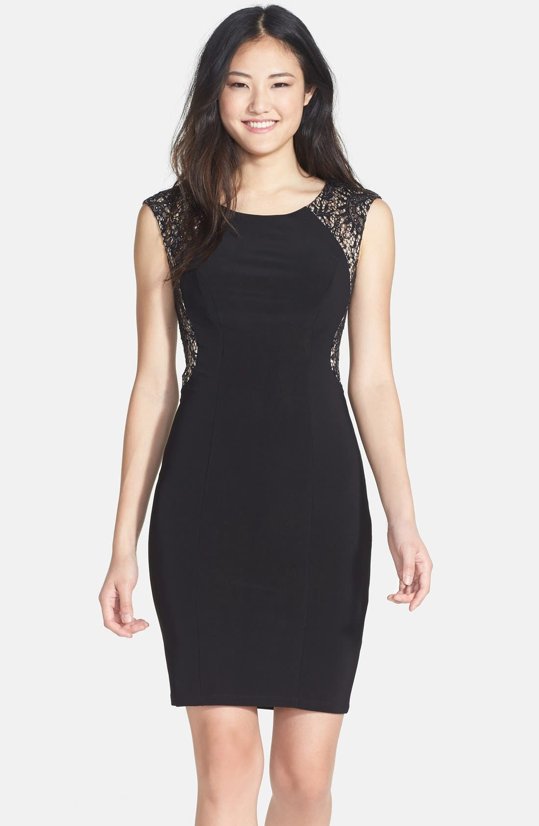 Main Image - Xscape Embellished Lace Detail Jersey Sheath Dress