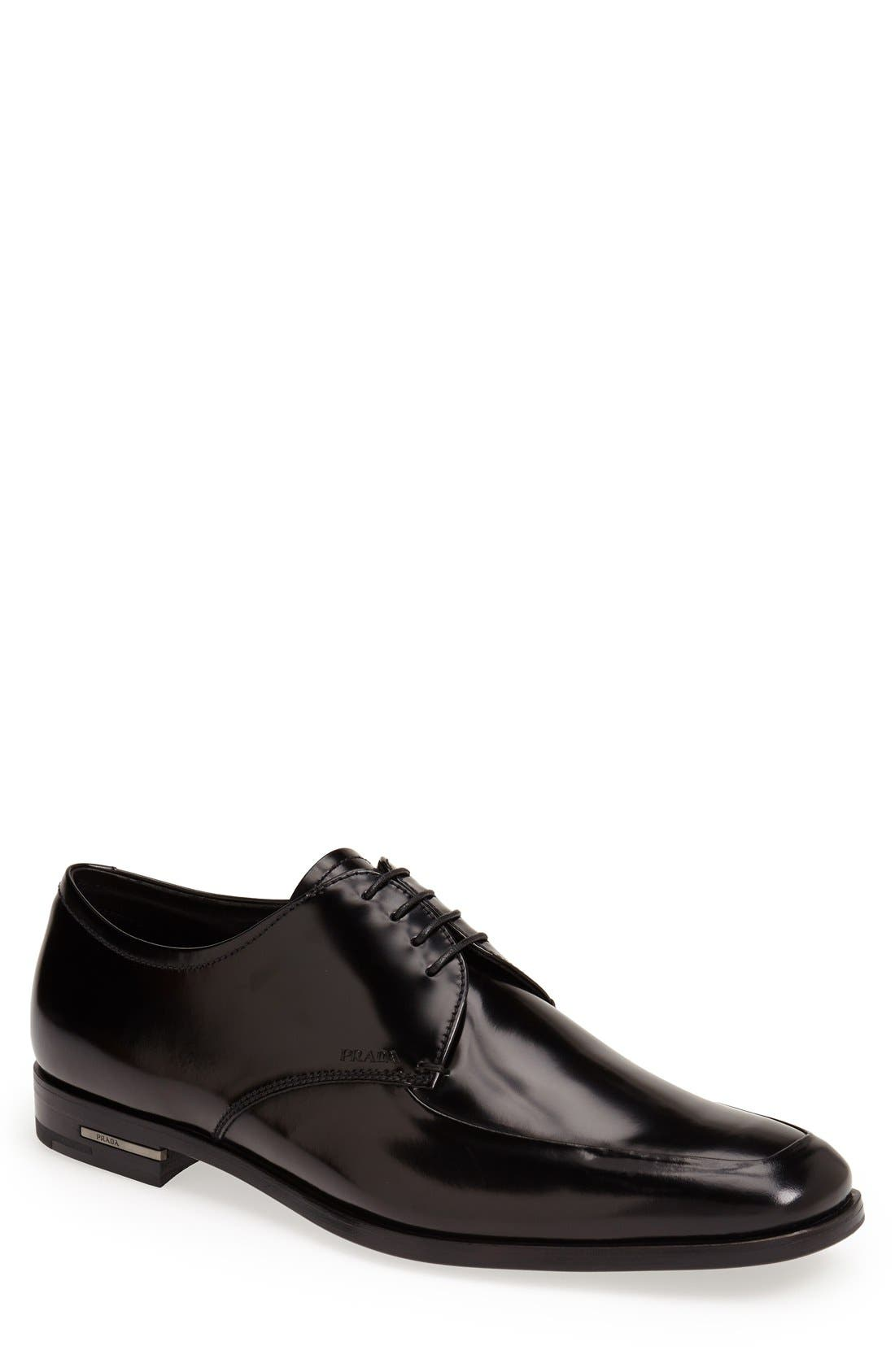 Main Image - Prada High Shine Apron Toe Oxford (Men)