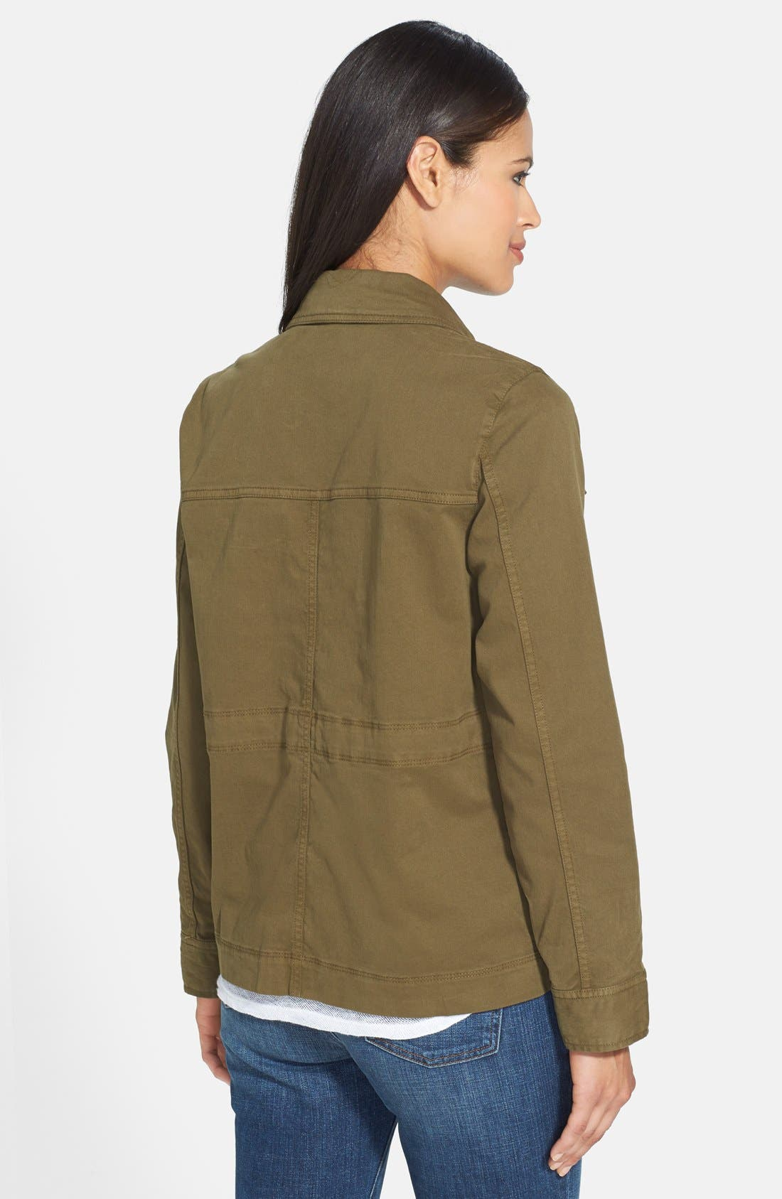 The Fisher Project Classic Collar Stretch Twill Jacket,                             Alternate thumbnail 2, color,                             Olive
