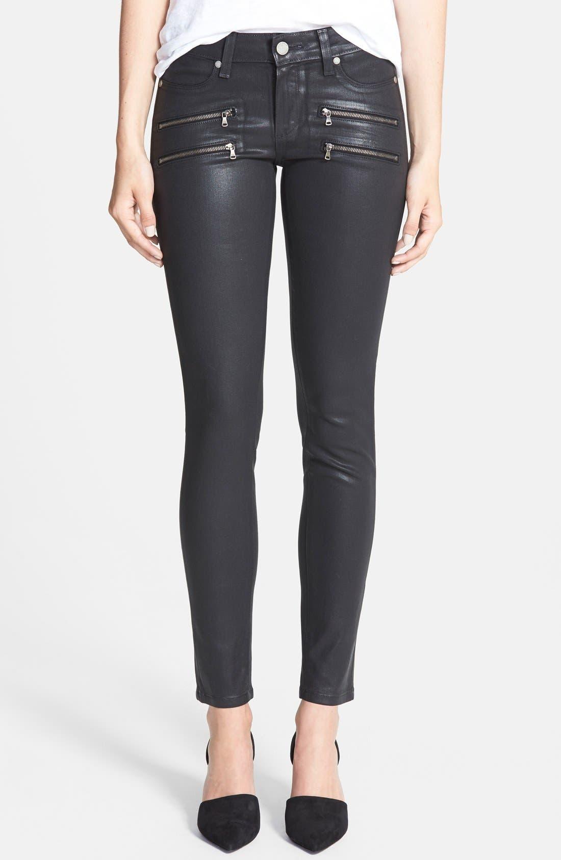 Main Image - PAIGE 'Edgemont' Coated Ultra Skinny Jeans (Black Silk)