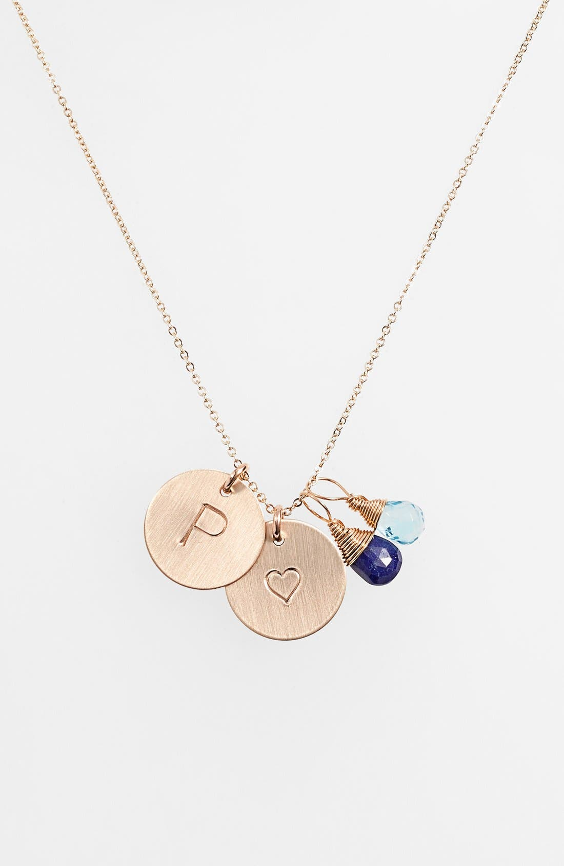 Blue Quartz Initial & Heart 14k-Gold Fill Disc Necklace,                             Main thumbnail 1, color,                             Royal Blue And Ocean Blue P