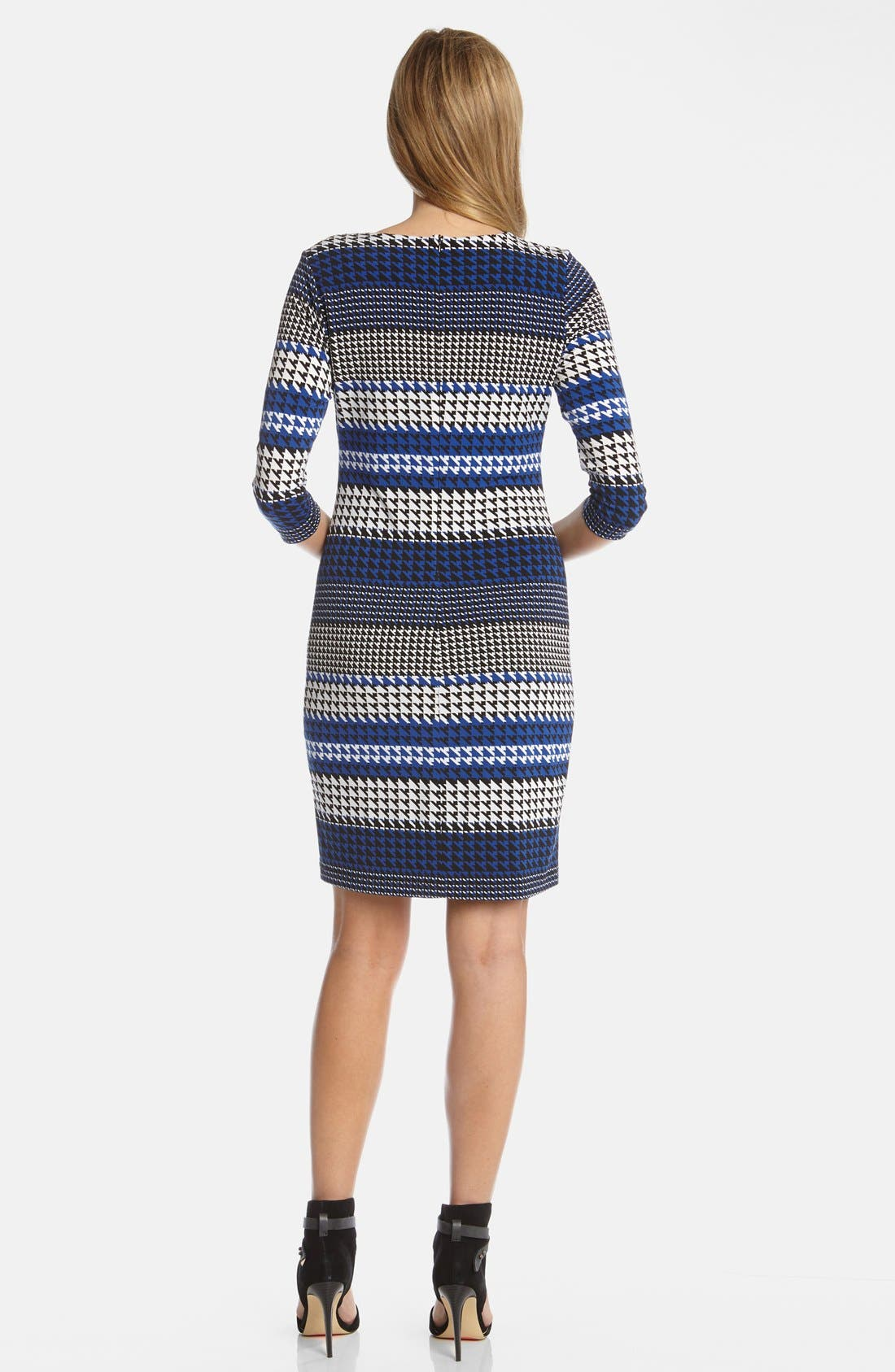 Alternate Image 2  - Karen Kane 'Lunar Houndstooth' Stripe Print Stretch Knit Sheath Dress