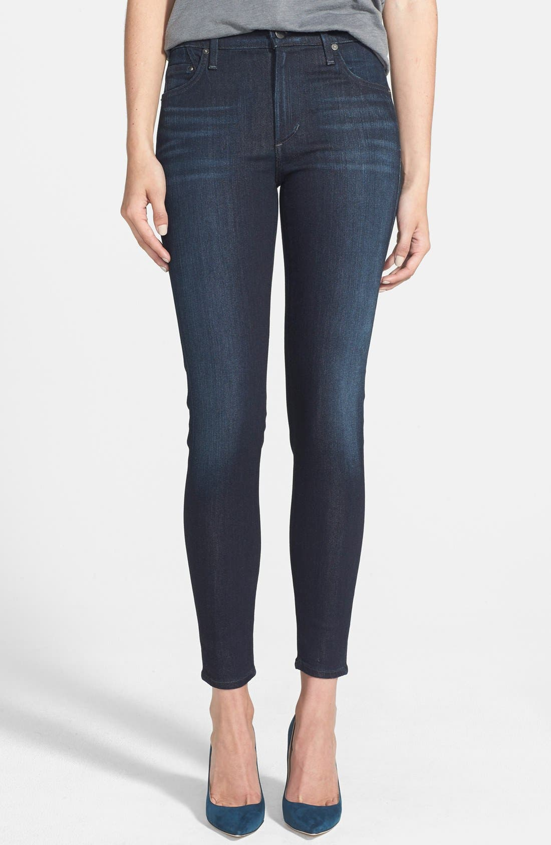 Main Image - Citizens of Humanity 'Rocket' High Rise Skinny Jeans (Space) (Petite)