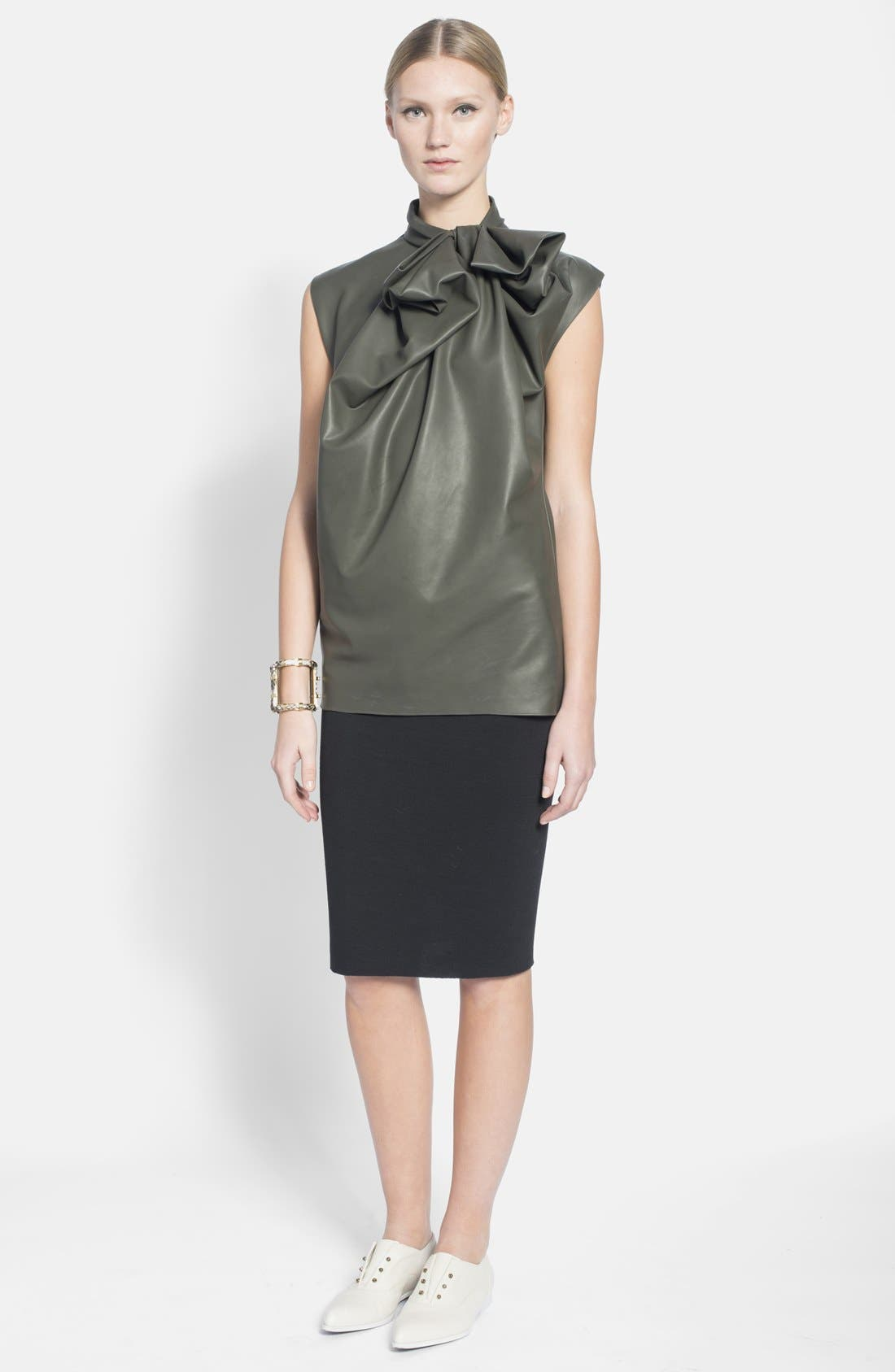 Alternate Image 1 Selected - Lanvin Bow Detail Faux Leather Top