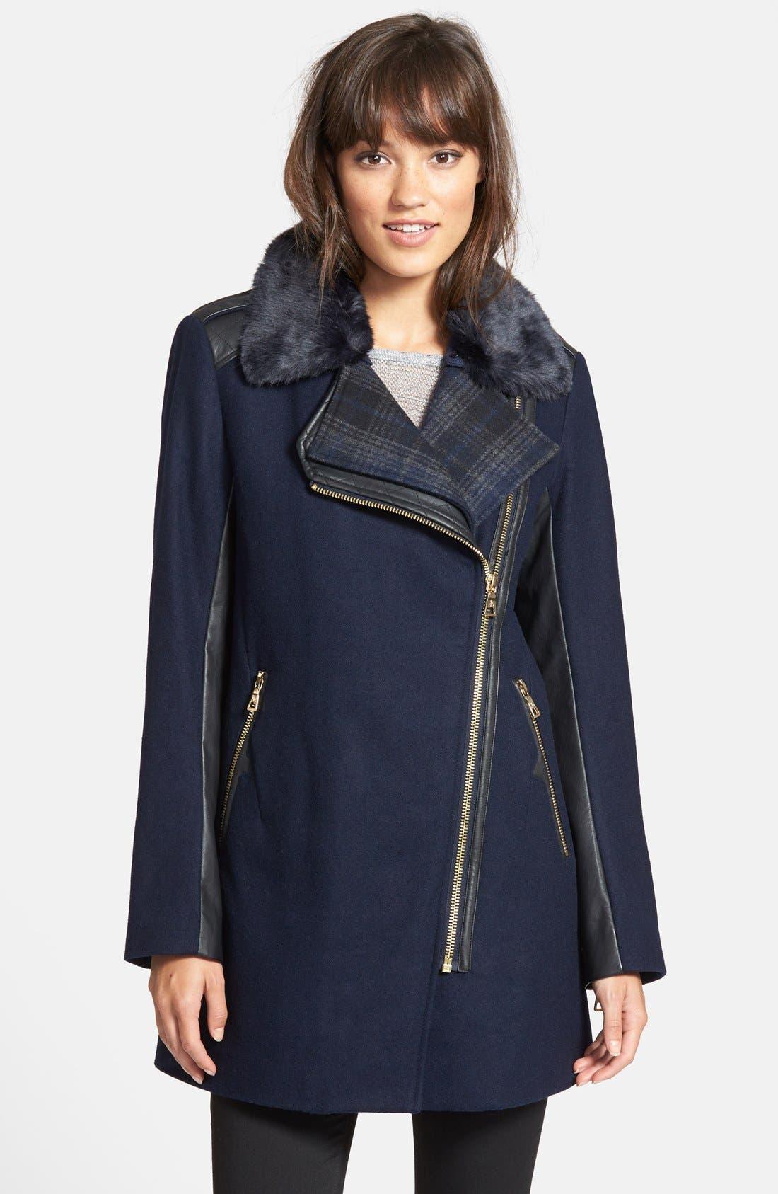 Alternate Image 1 Selected - Sam Edelman 'Leah' Faux Fur & Plaid Trim Asymmetrical Coat