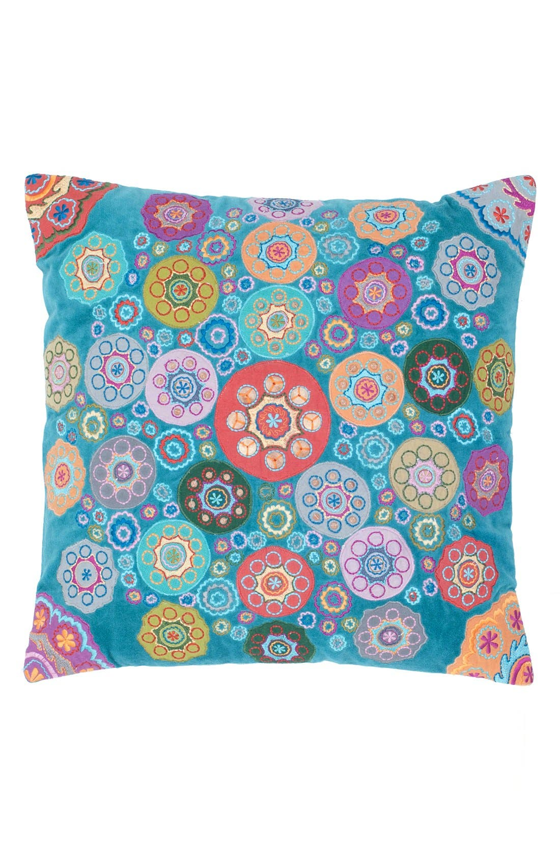 'Geo Floral' Accent Pillow,                             Main thumbnail 1, color,                             Teal