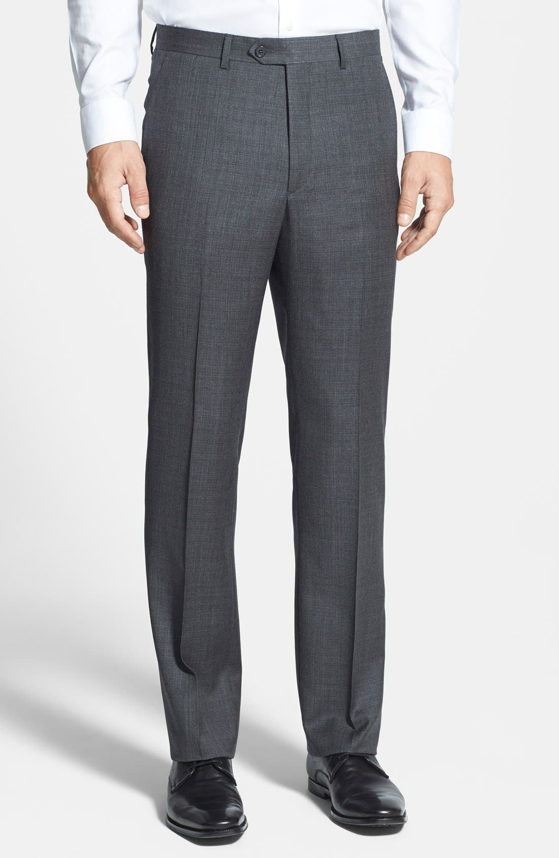 Flat Front Wool Trousers,                             Main thumbnail 1, color,                             Grey