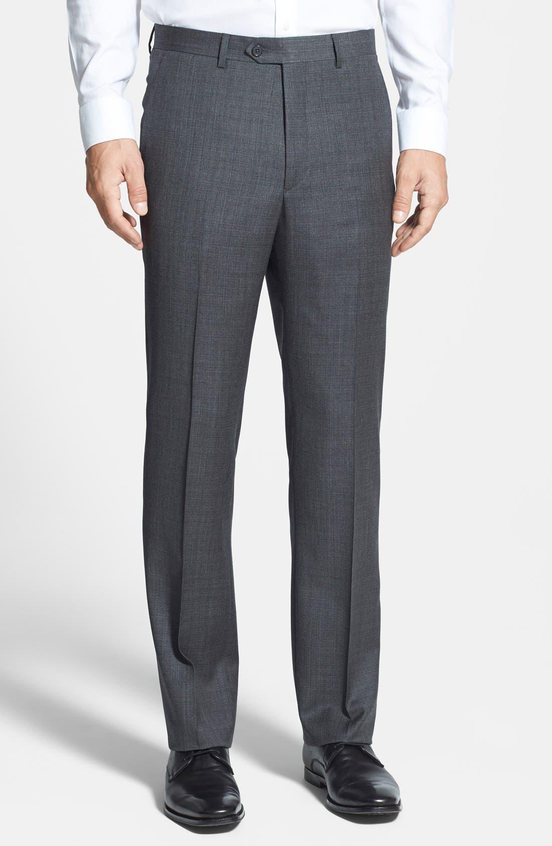 Main Image - Santorelli Flat Front Wool Trousers
