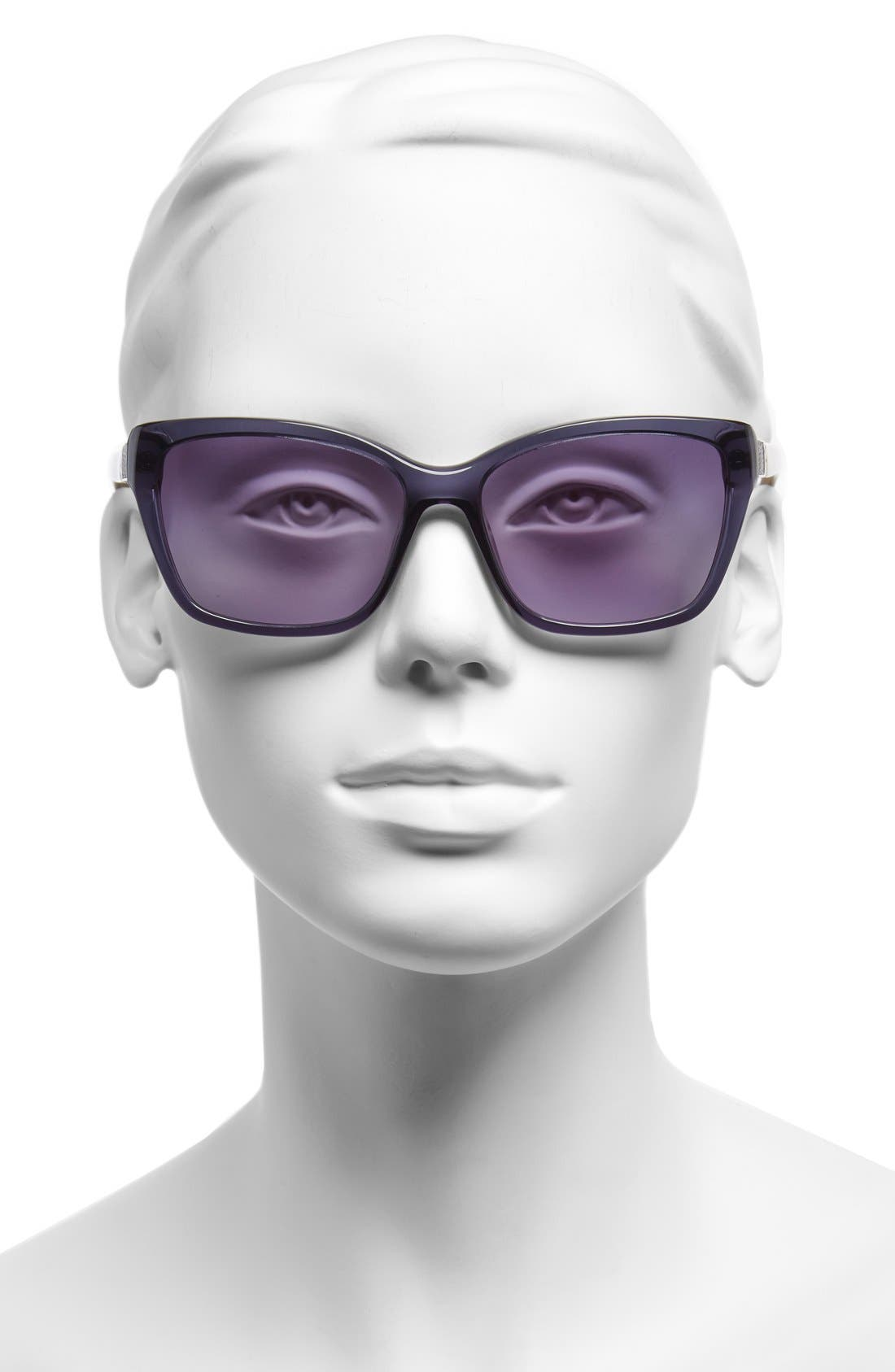 Alternate Image 2  - Furla 56mm Leather Insert Sunglasses