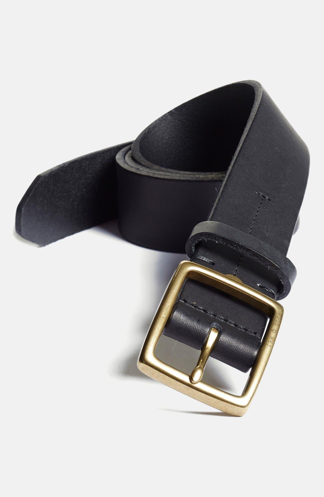 Rugged Leather Belt,                         Main,                         color, Black
