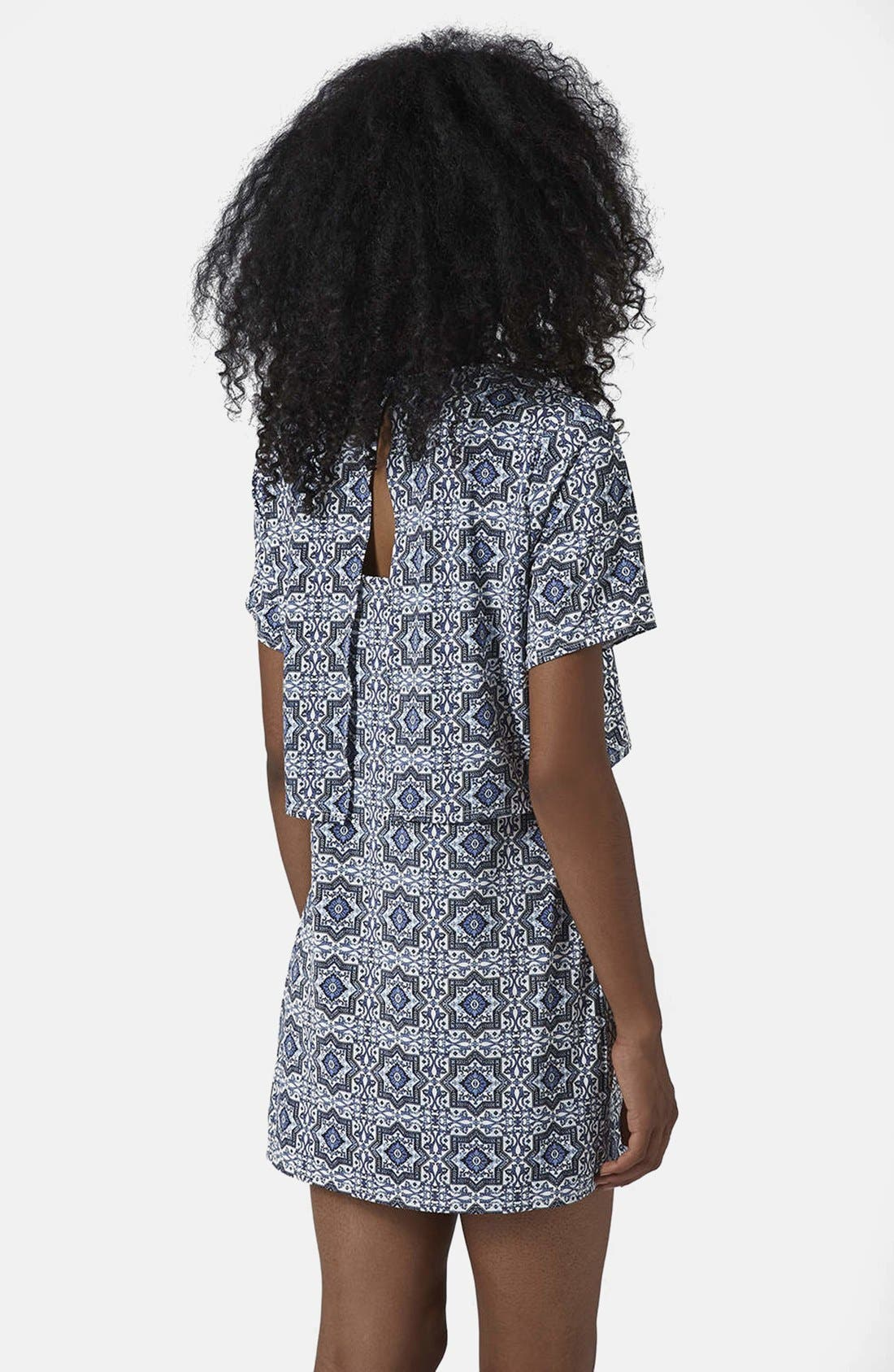 Alternate Image 2  - Topshop Tile Print Crop Overlay Dress
