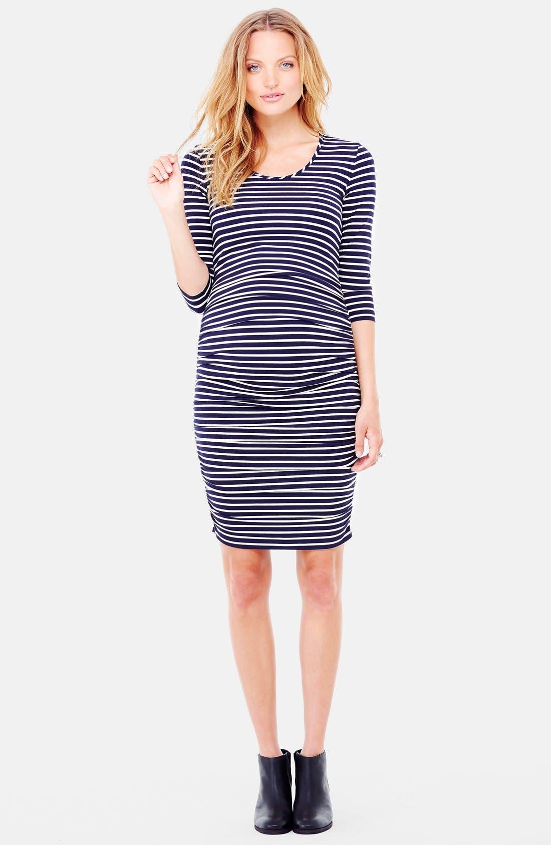 Ingrid & Isabel Shirred Maternity Dress,                             Main thumbnail 1, color,                             True Navy/Cream Stripe