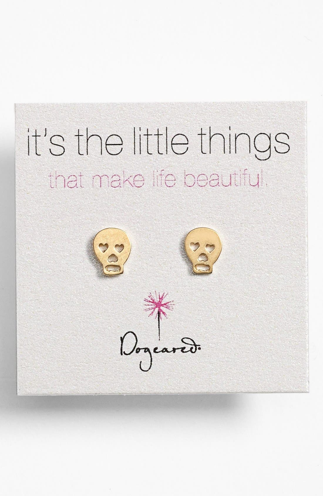 Alternate Image 1 Selected - Dogeared 'It's the Little Things' Skull Stud Earrings