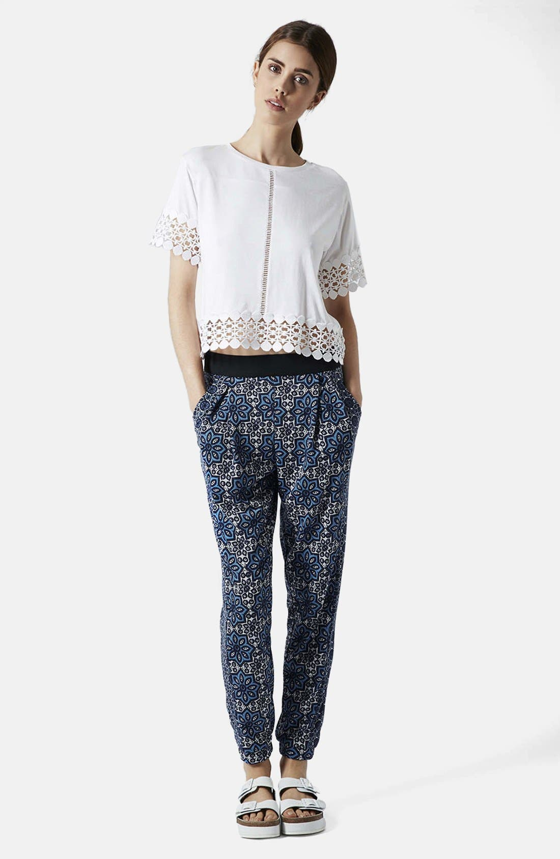 Alternate Image 5  - Topshop Tile Print Jersey Trousers