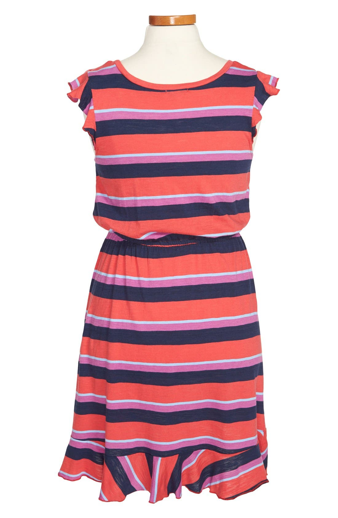 Alternate Image 2  - Splendid 'Wow' Stripe Flutter Sleeve Dress (Big Girls)