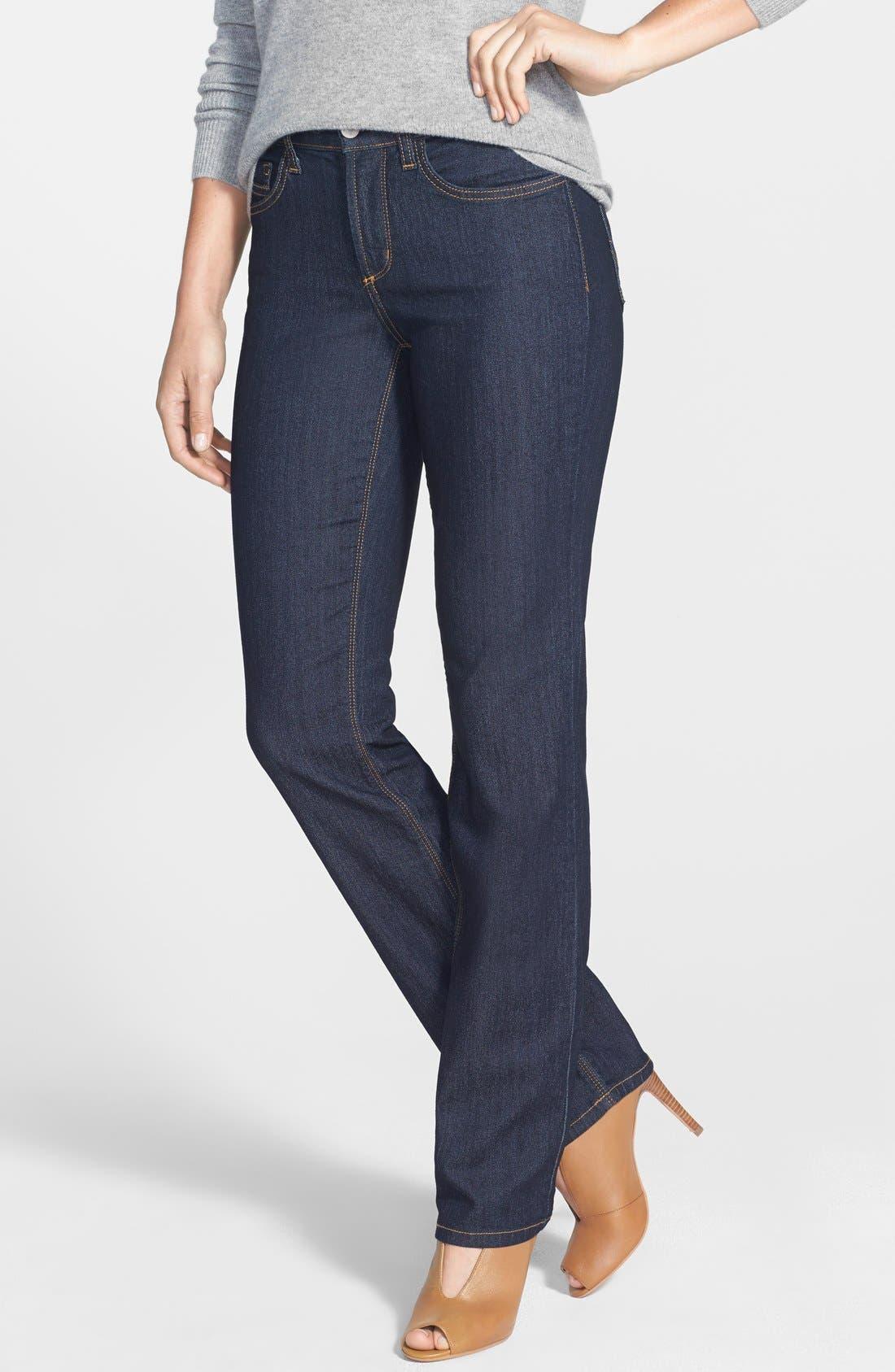Alternate Image 1 Selected - NYDJ 'Marilyn' Stretch Straight Leg Jeans (Dark Enzyme) (Regular & Petite)