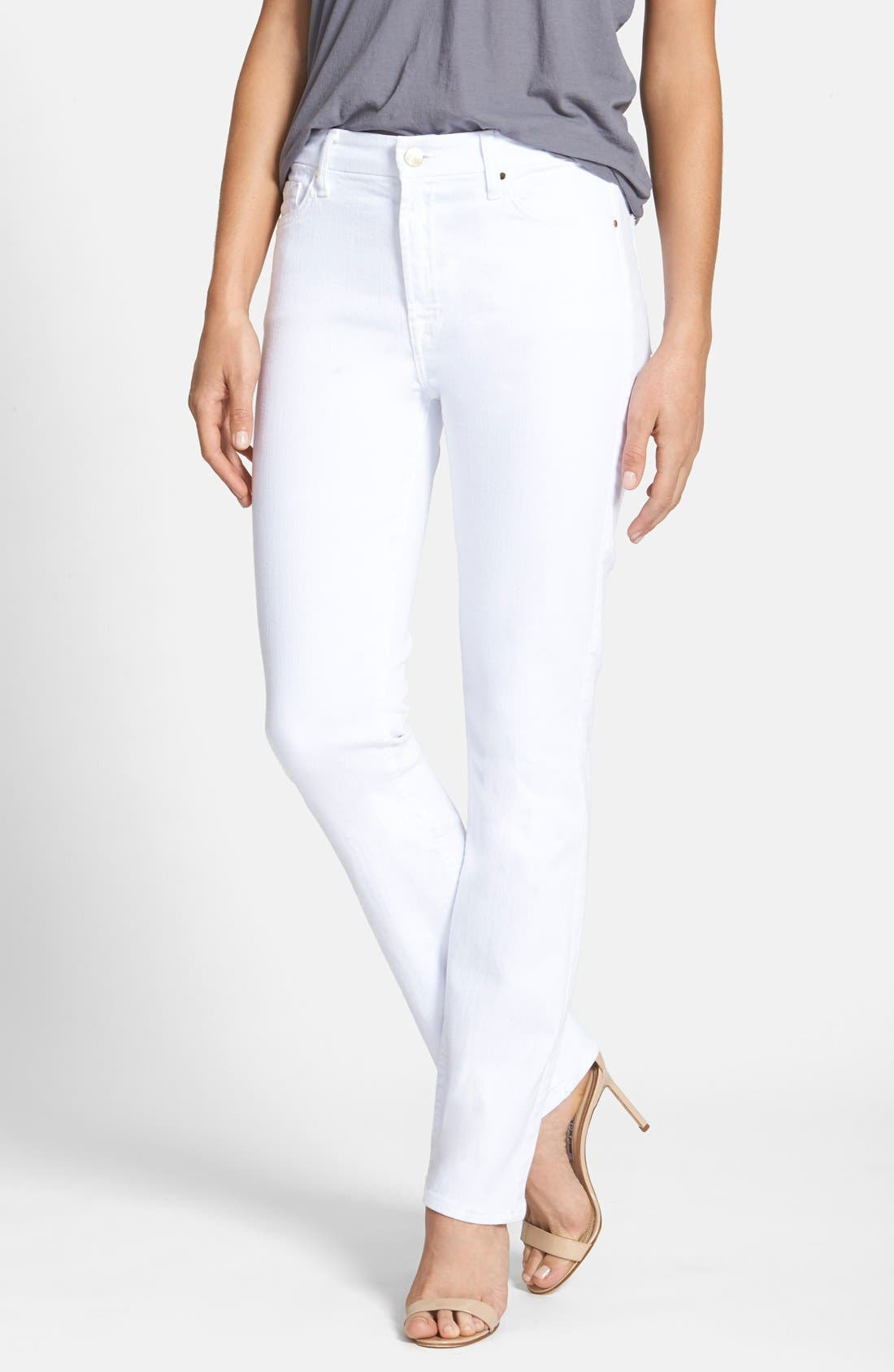Jen7 Stretch Slim Straight Leg Jeans (White Denim)