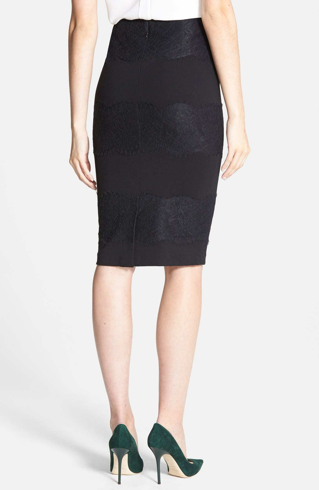 Alternate Image 2  - 1.STATE Lace Panel Ponte Skirt