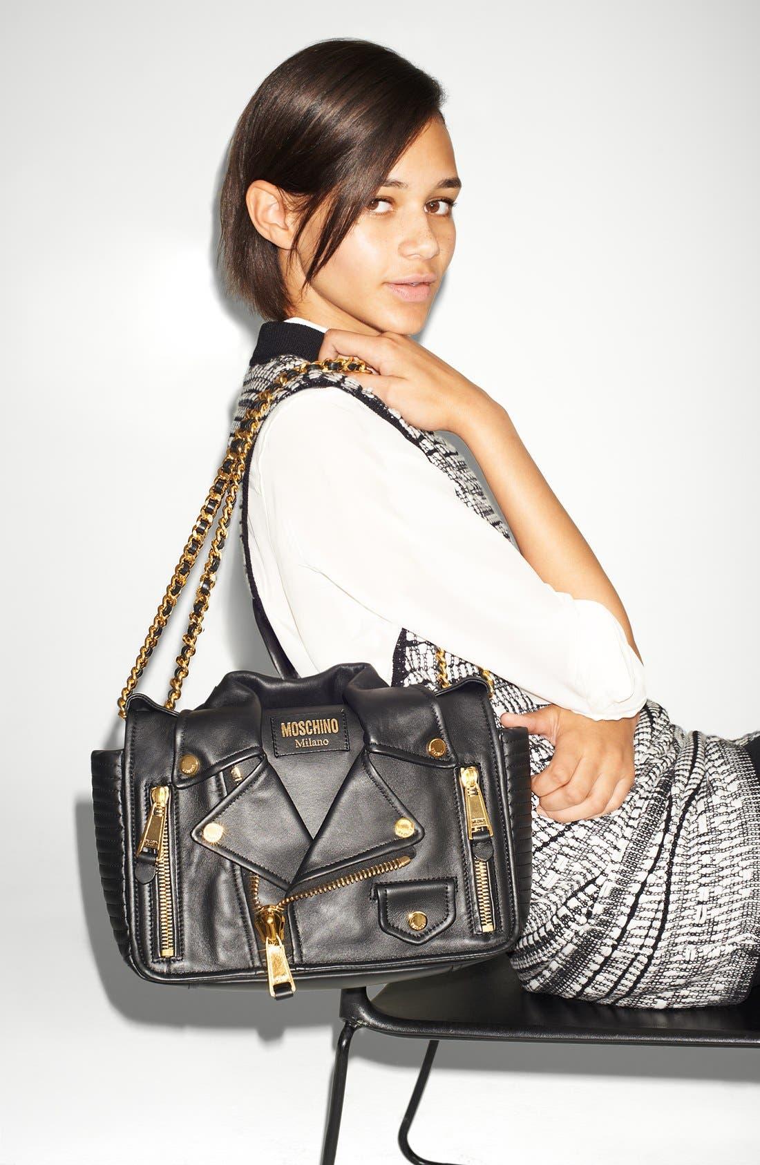 Alternate Image 7  - Moschino 'Biker Jacket' Shoulder Bag