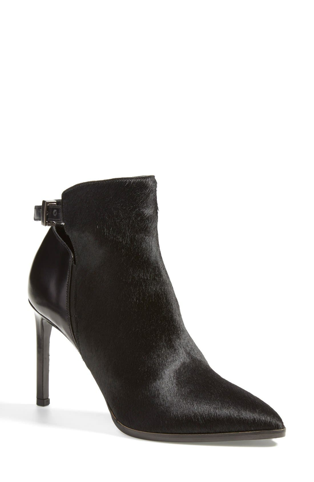 'Calla' Leather & Calf Hair Bootie,                             Main thumbnail 1, color,                             Black