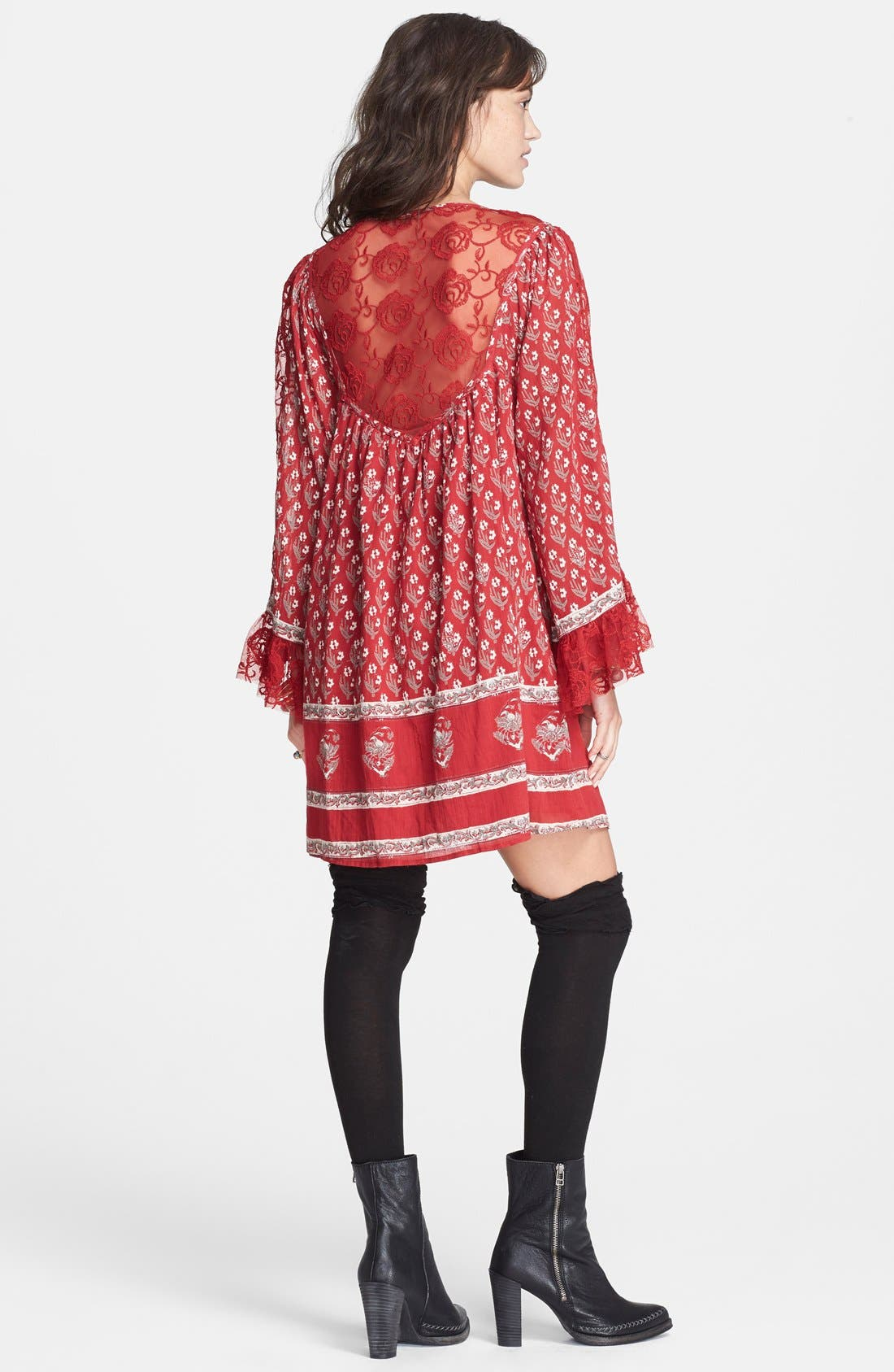Alternate Image 2  - Free People Floral Print Butterfly Sleeve Cotton Dress