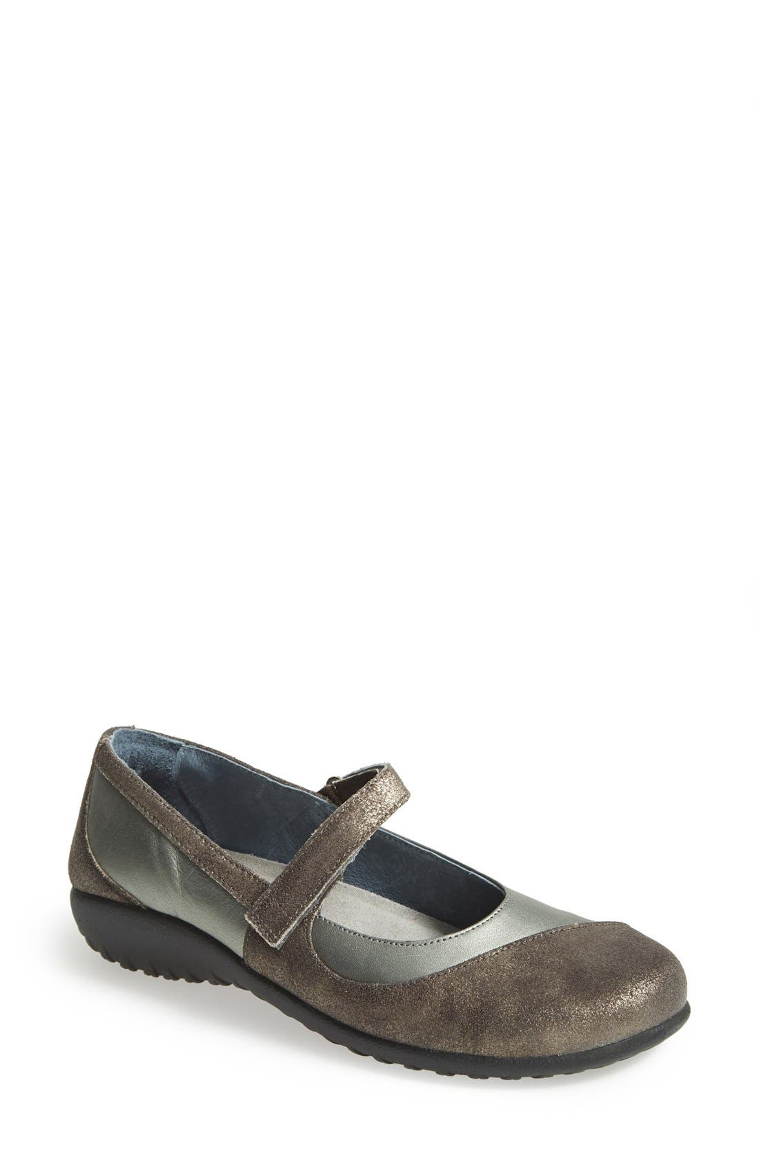 'Kukamo' Mary Jane Flat,                         Main,                         color, Sterling/ Grey Shimmer