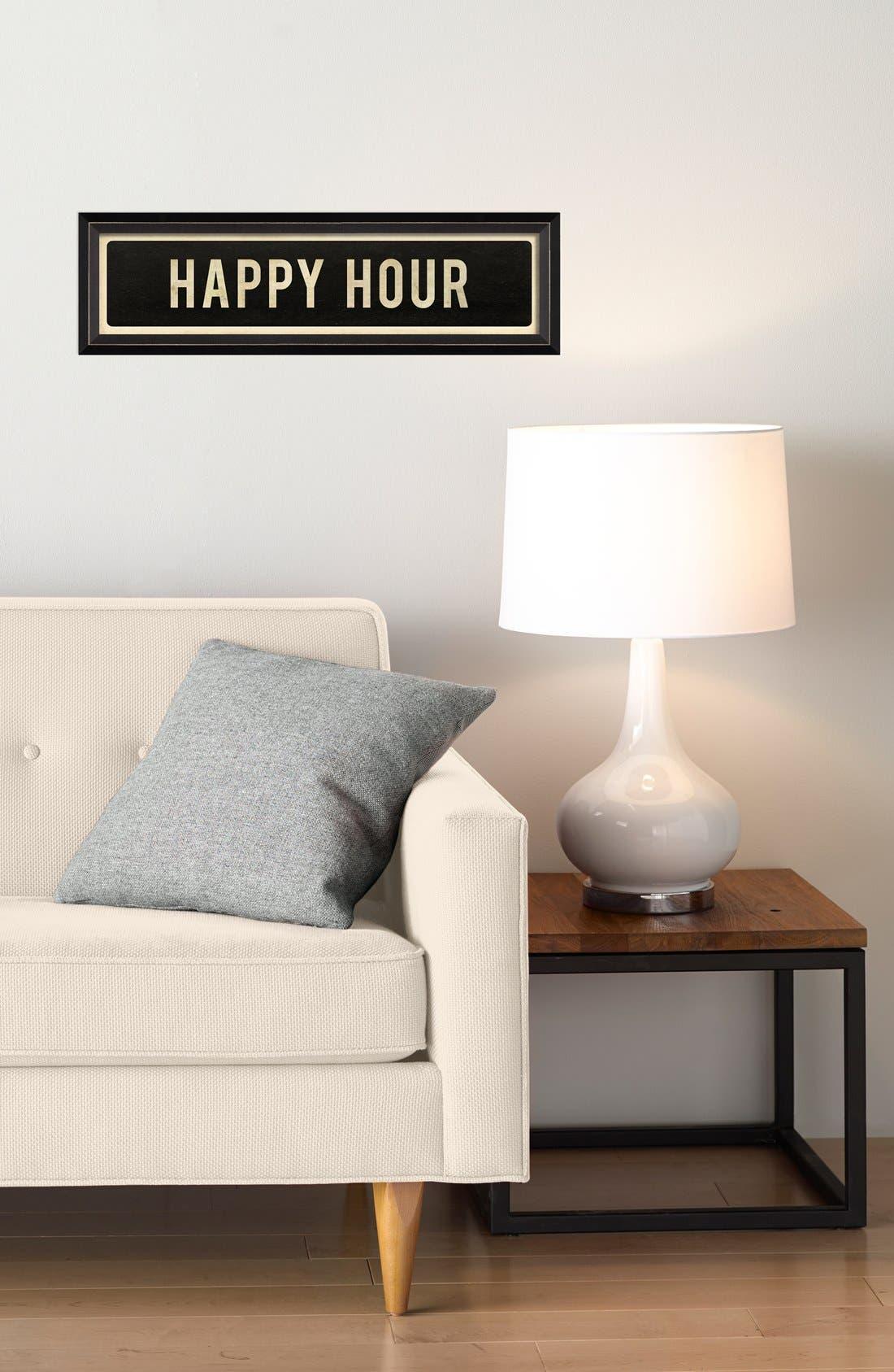 'Happy Hour' Vintage Look Street Sign Artwork,                             Alternate thumbnail 2, color,                             Black
