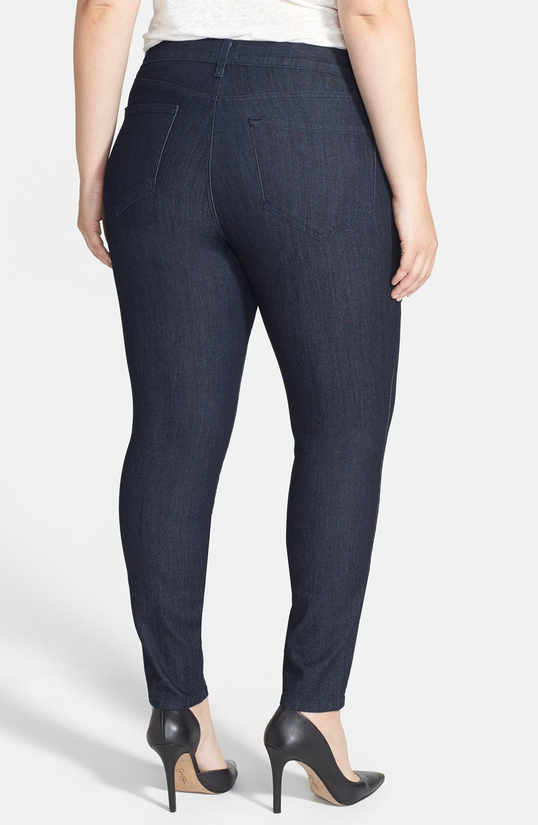 Alternate Image 2  - NYDJ 'Ami' Tonal Stitch Stretch Skinny Jeans (Dark Enzyme) (Plus Size)