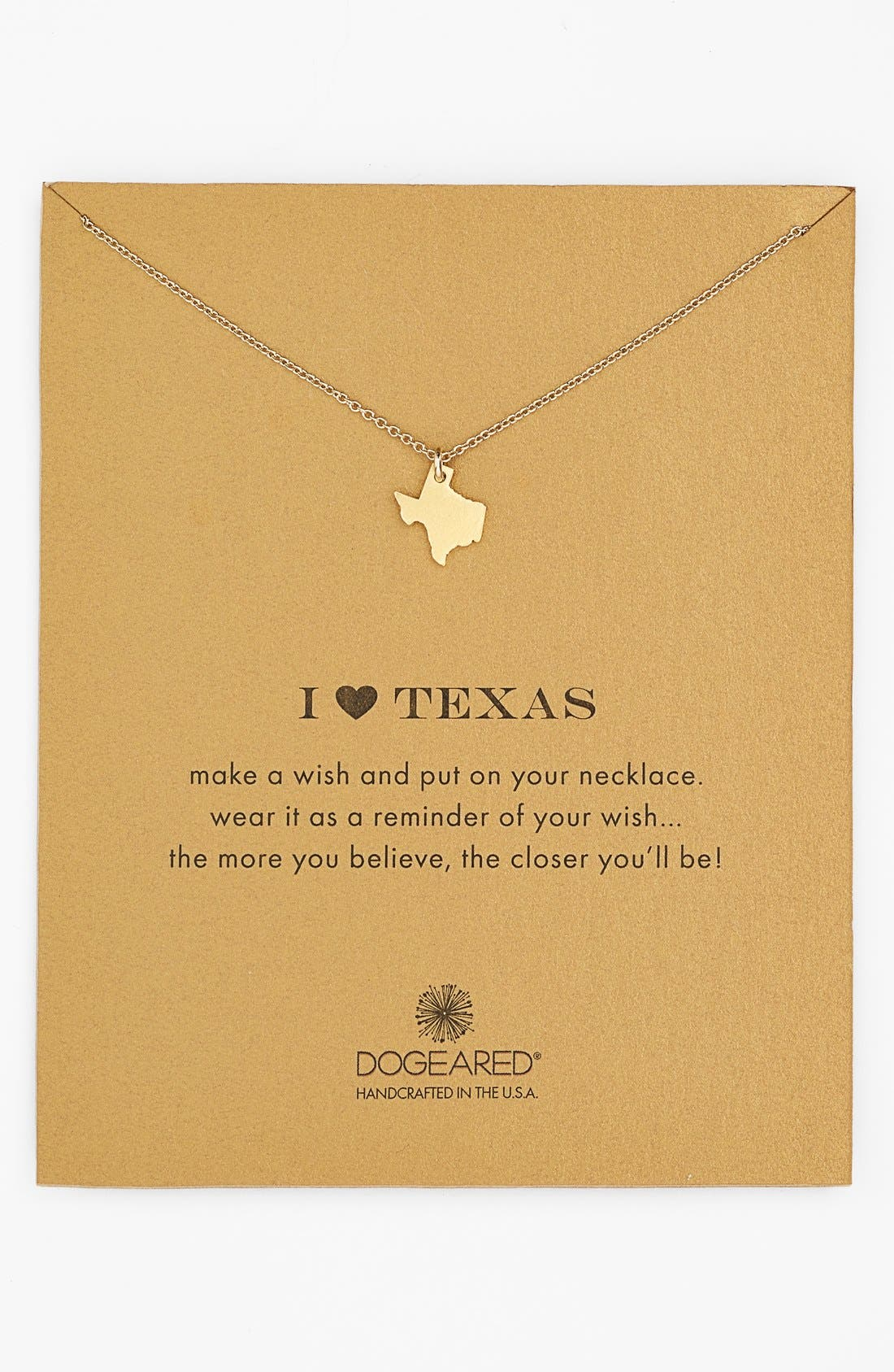 Main Image - Dogeared 'Reminder - I Heart Texas' Pendant Necklace